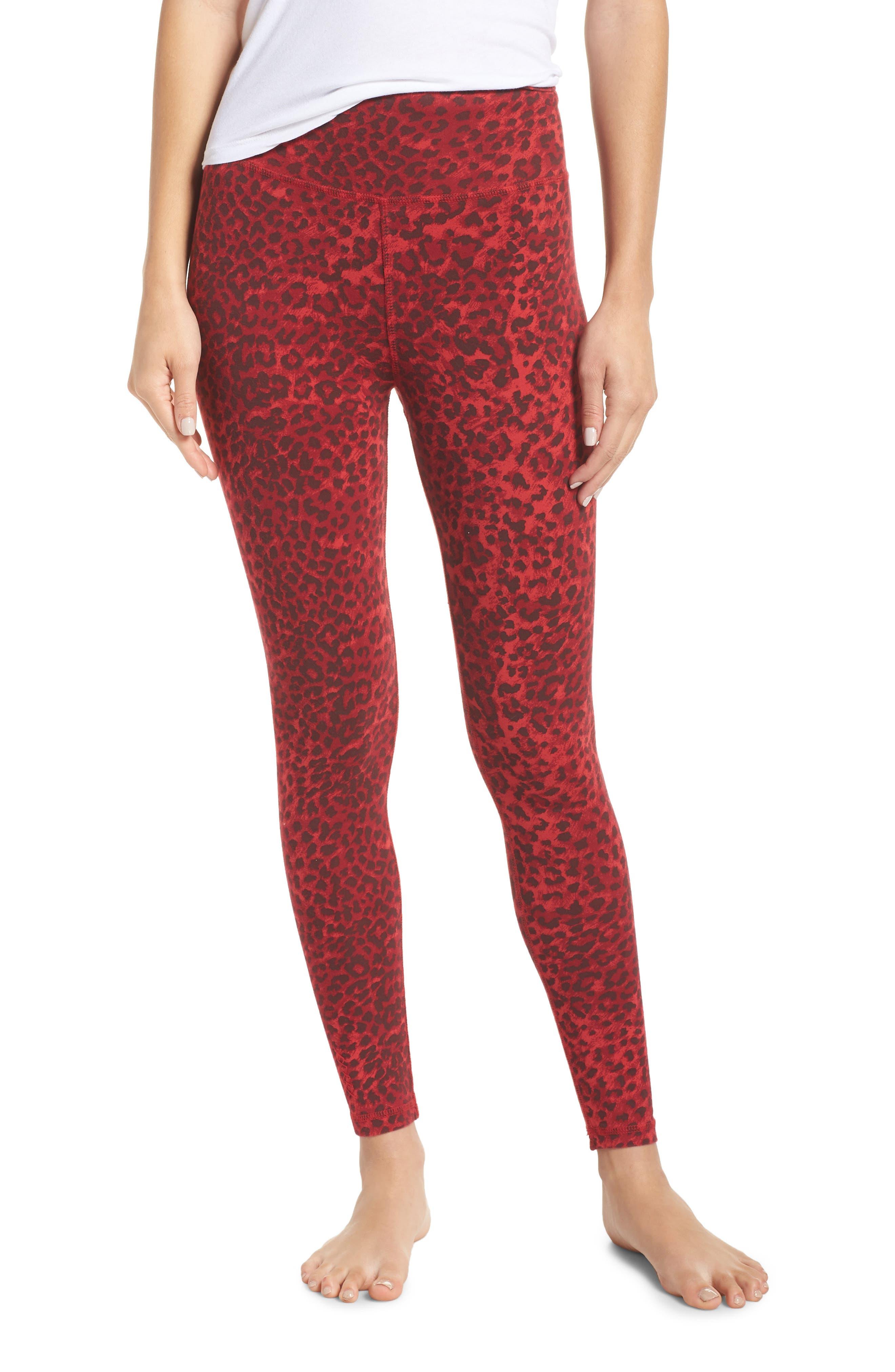 RAGDOLL Leopard Print Leggings in Red Leopard