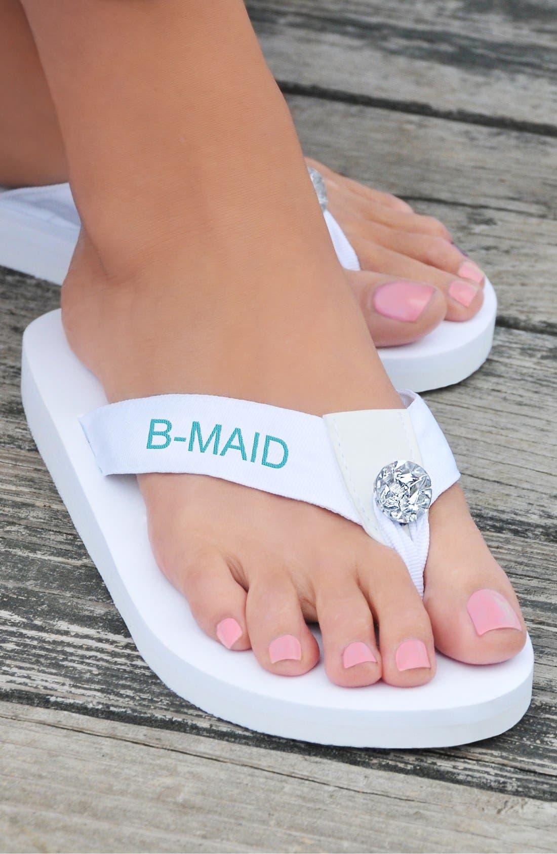'Bridesmaid' Personalized Flip Flops,                             Alternate thumbnail 2, color,                             100