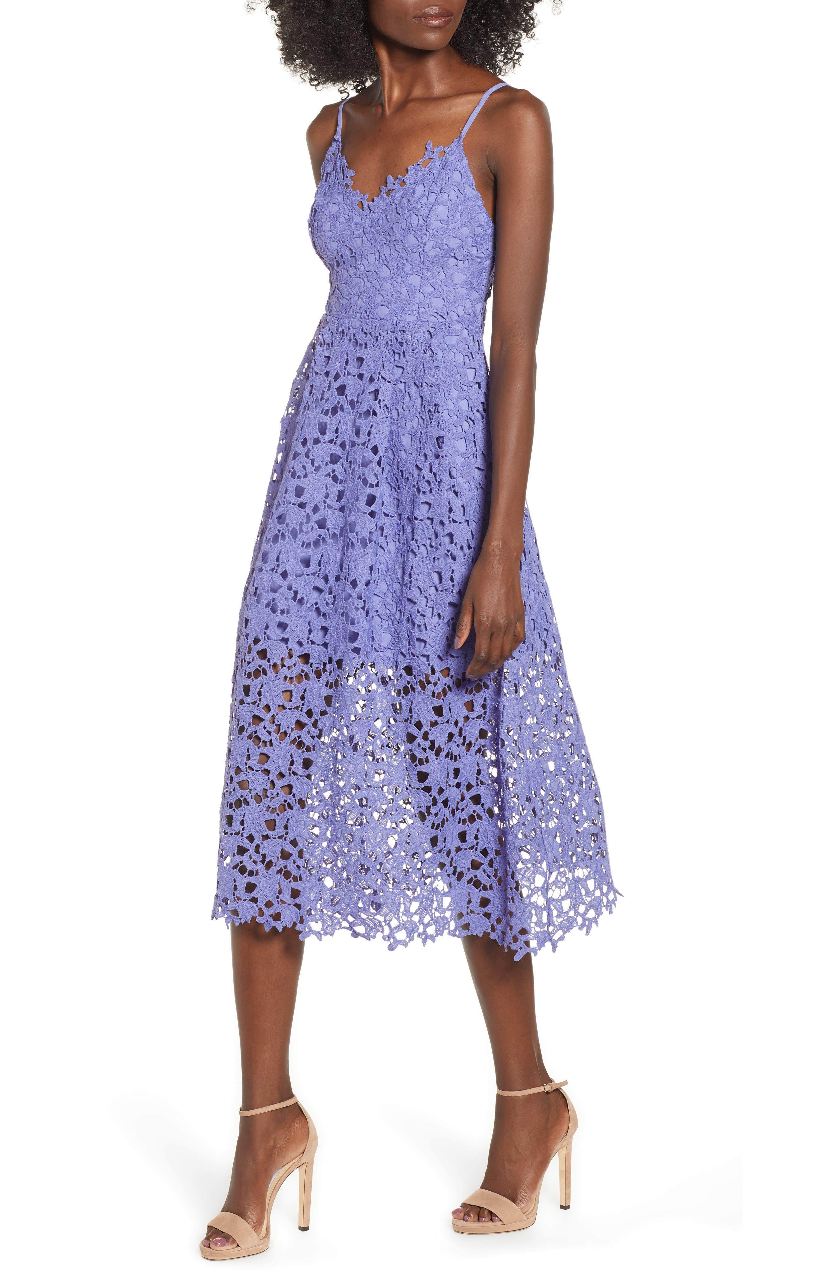 Lace Midi Dress,                             Main thumbnail 1, color,                             PURPLE ORCHID