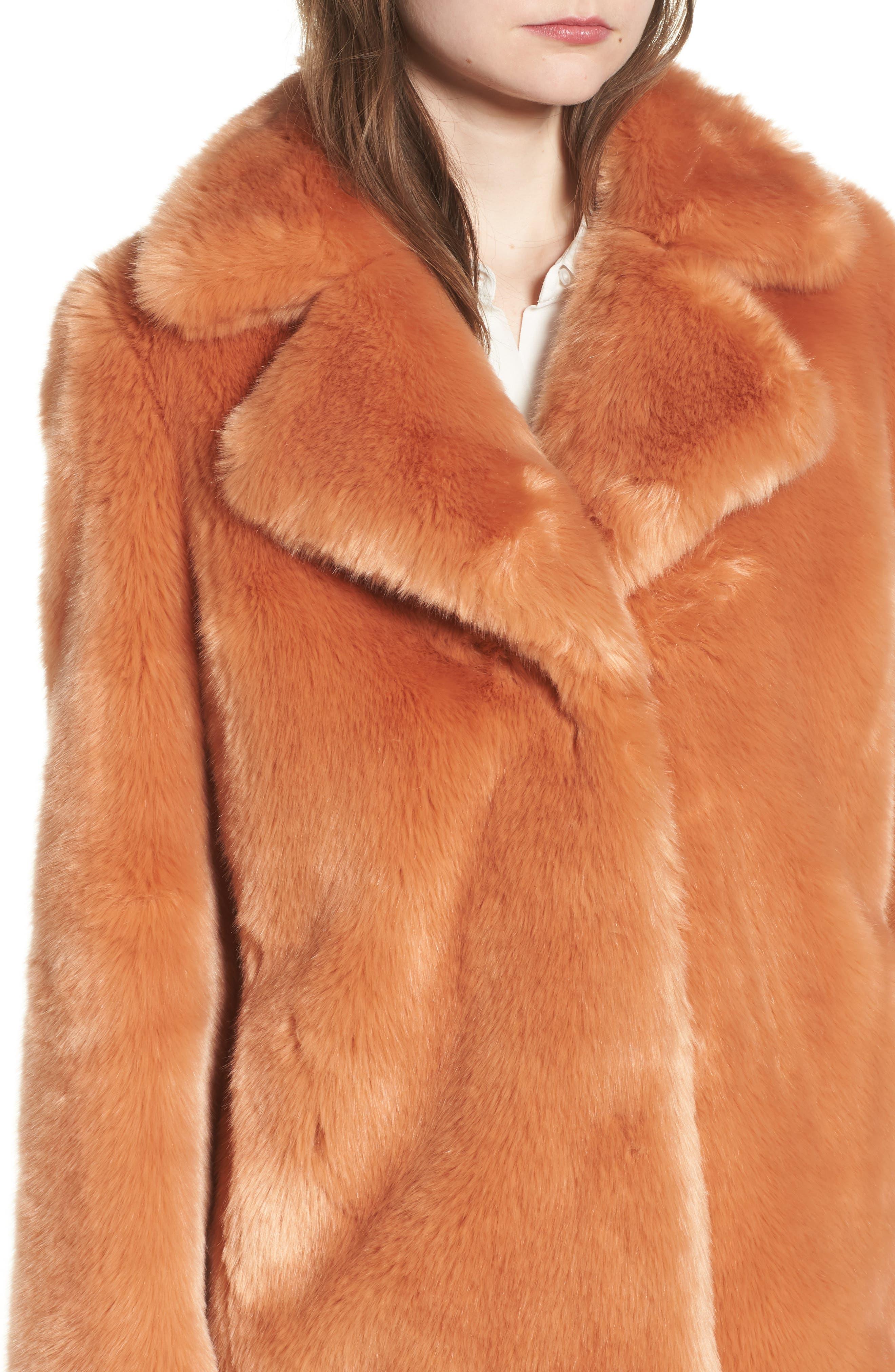 AVEC LES FILLES,                             Notch Collar Faux Fur Coat,                             Alternate thumbnail 4, color,                             669