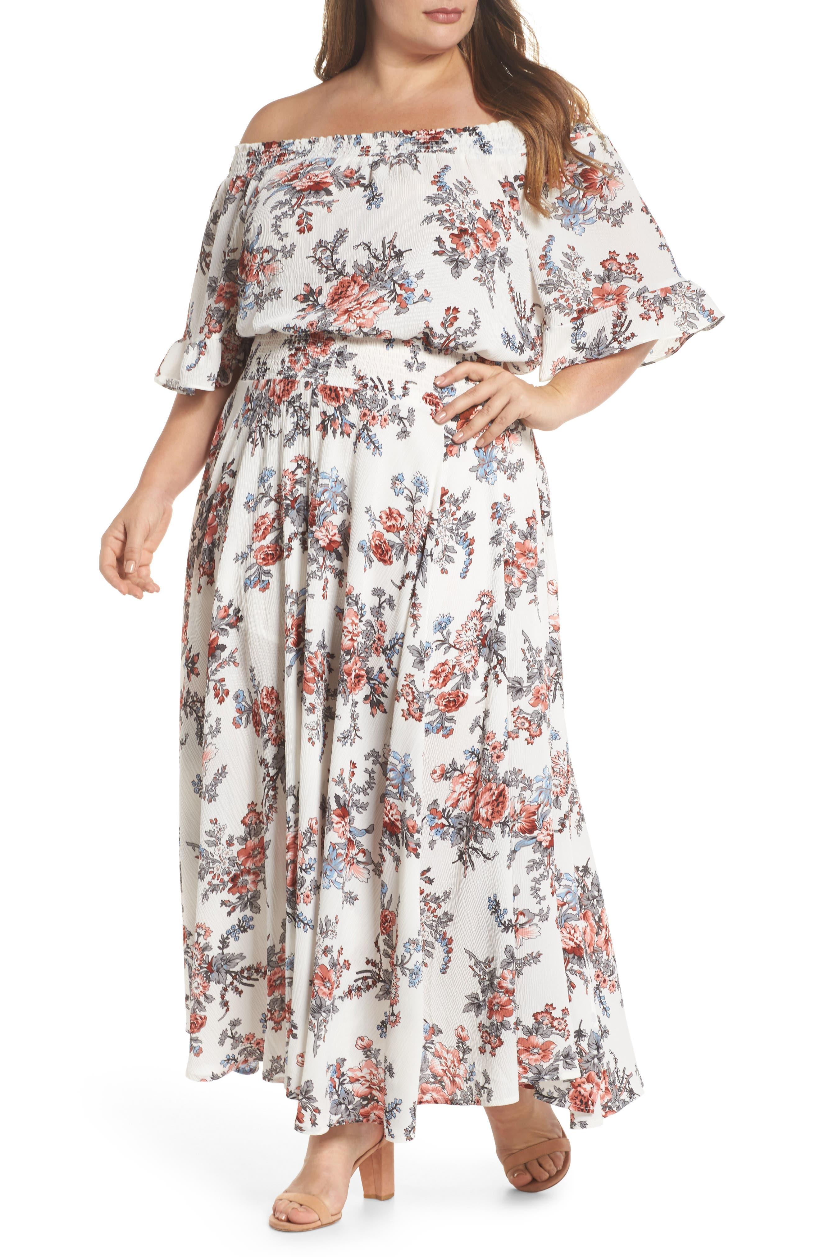 Print Off-the-Shoulder Maxi Dress,                         Main,                         color, 100