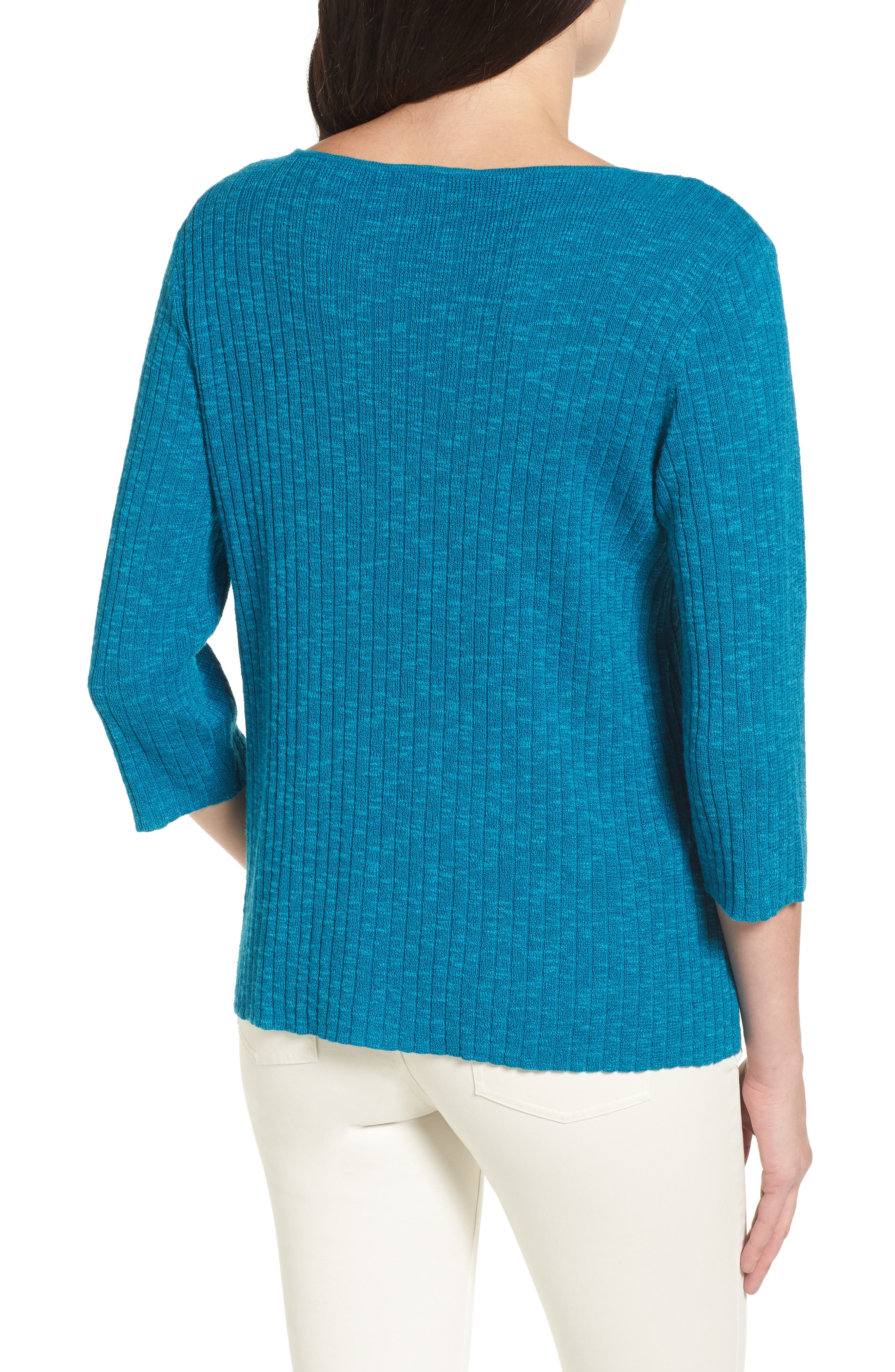 Ribbed Organic Linen & Cotton Sweater,                             Alternate thumbnail 4, color,