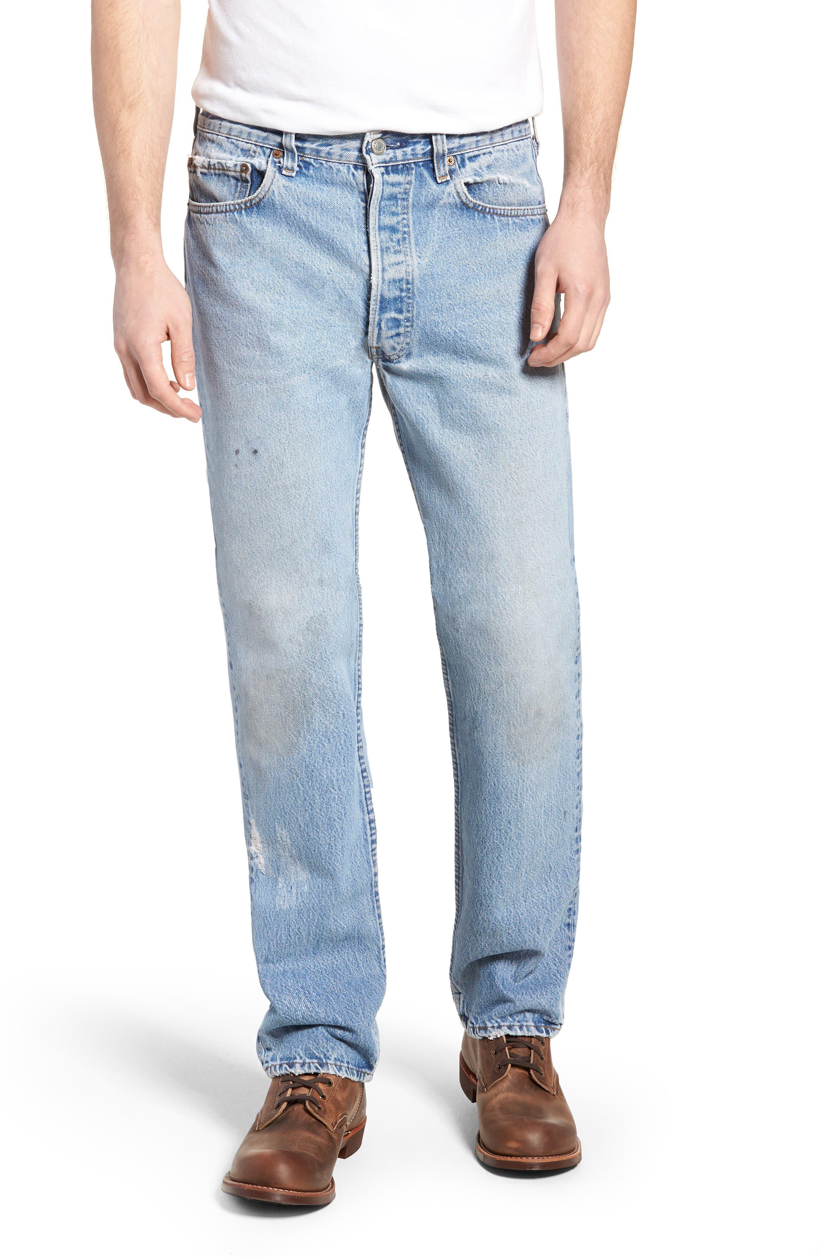 Authorized Vintage 501<sup>™</sup> Straight Leg Jeans,                         Main,                         color, AV BLUE