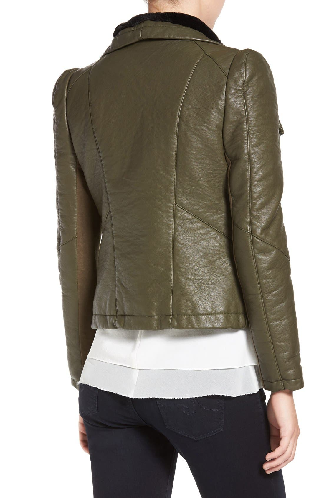 Faux Leather Jacket with Faux Shearling Trim,                             Alternate thumbnail 4, color,