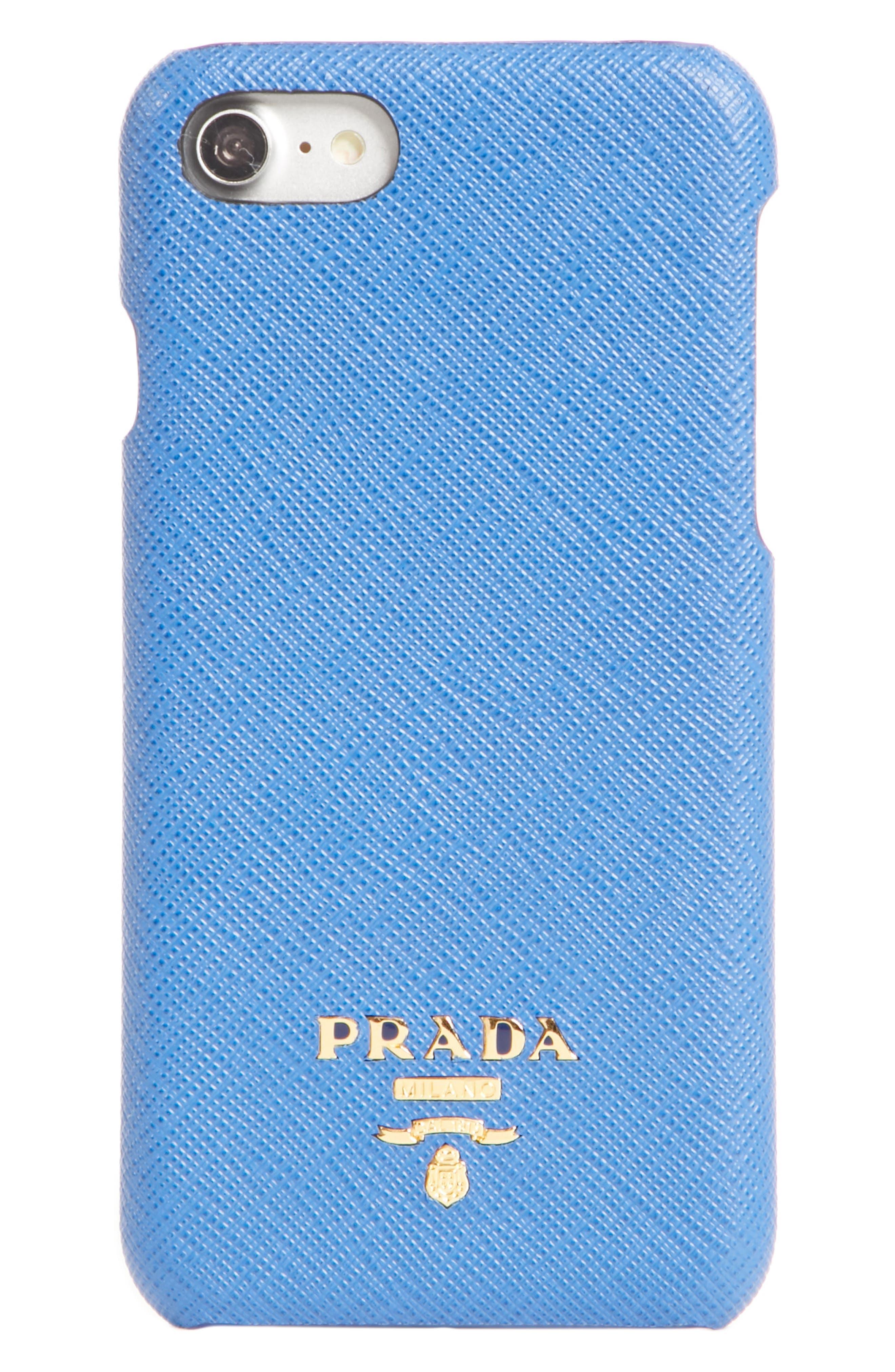 Saffiano Leather iPhone 7/8 Case,                         Main,                         color, AZZURRO