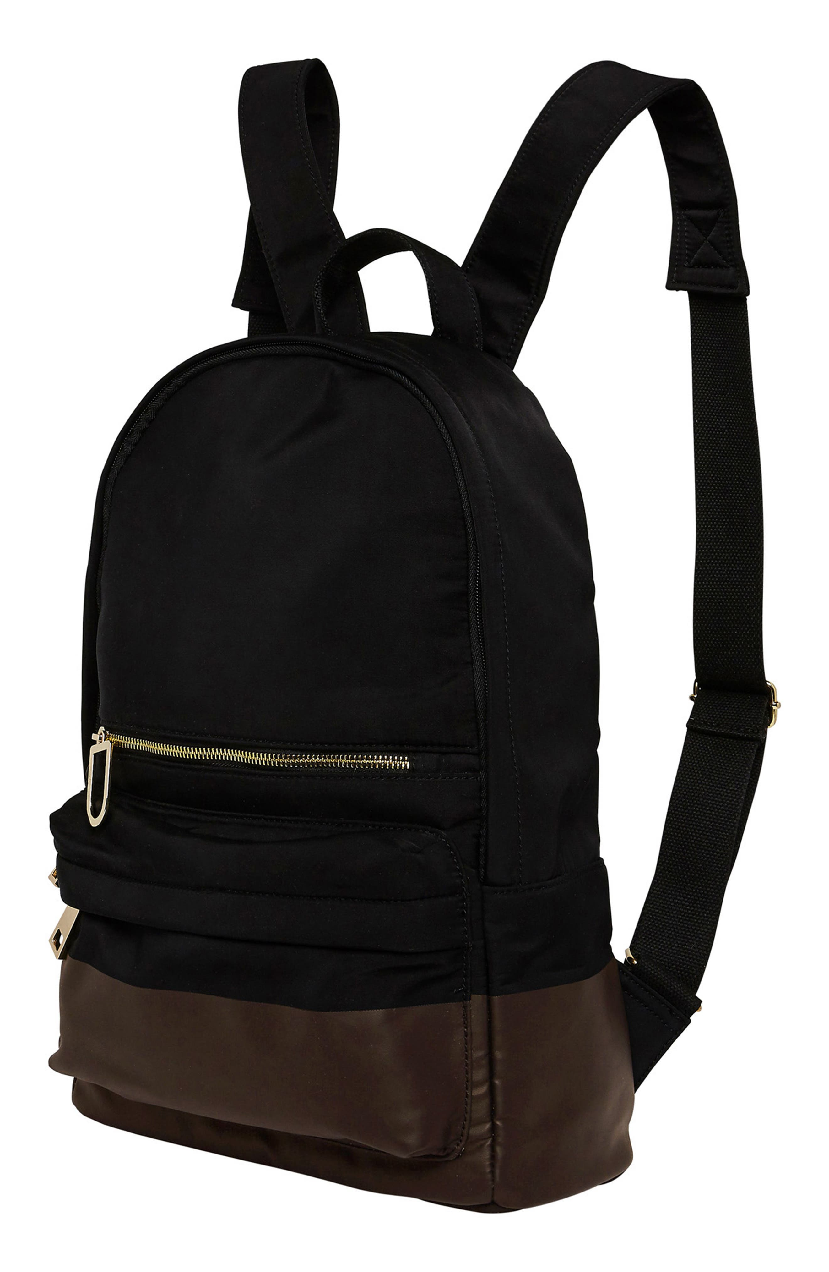 Own Beat Vegan Leather Backpack,                             Alternate thumbnail 4, color,                             001