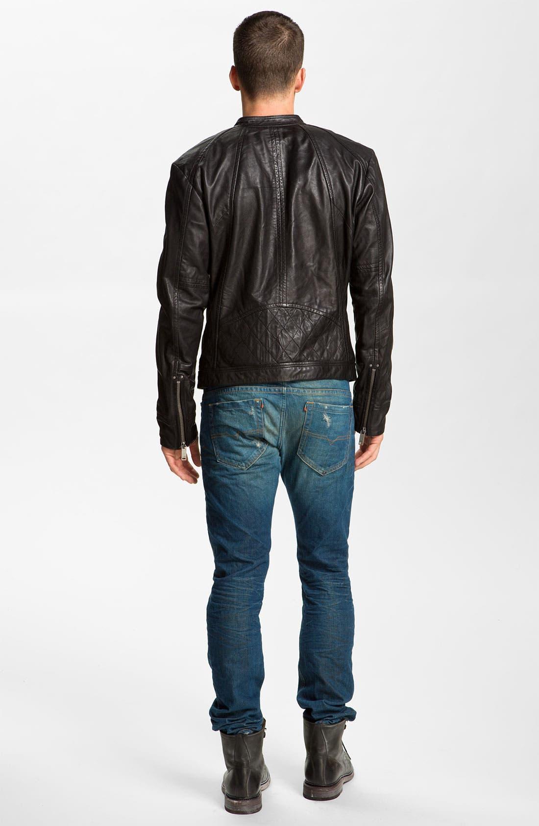 DIESEL<SUP>®</SUP>,                             'Leide' Extra Trim Fit Crinkled Leather Jacket,                             Alternate thumbnail 4, color,                             001