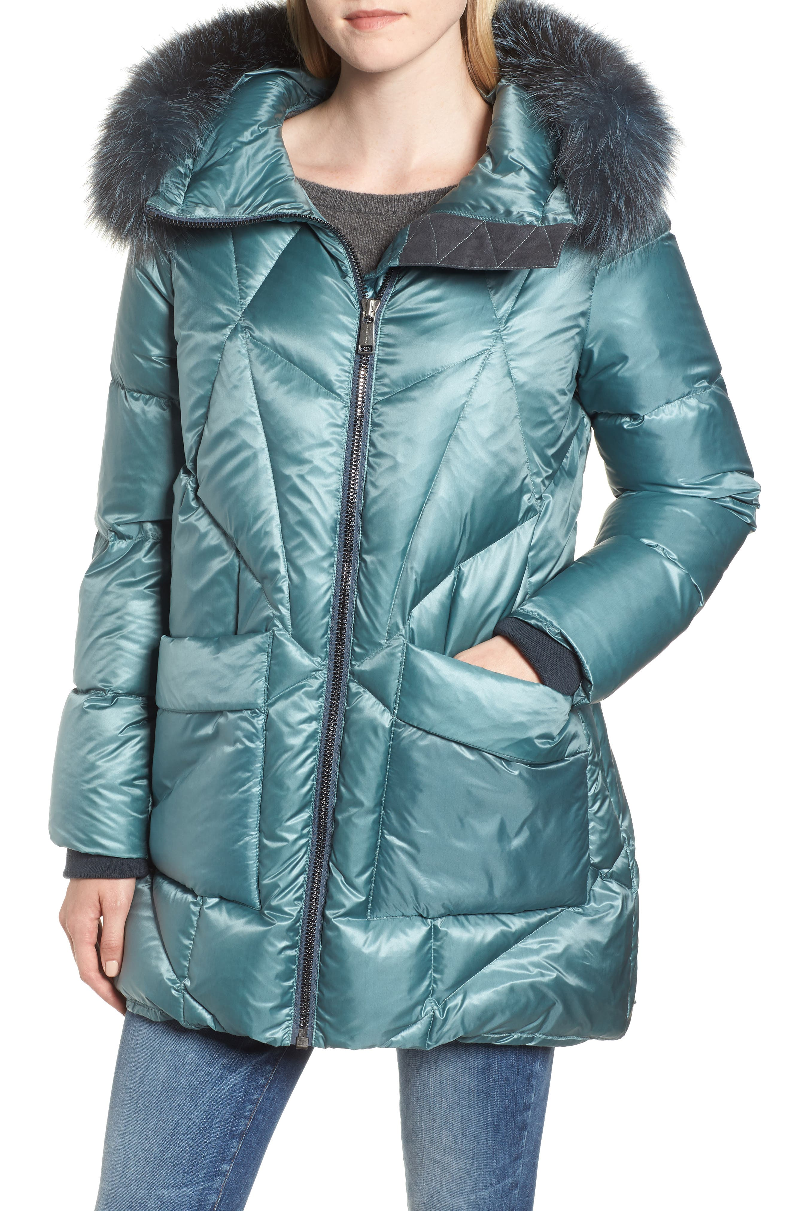 Andrew Marc Genuine Fox Fur Trim Quilted Down Coat, Blue