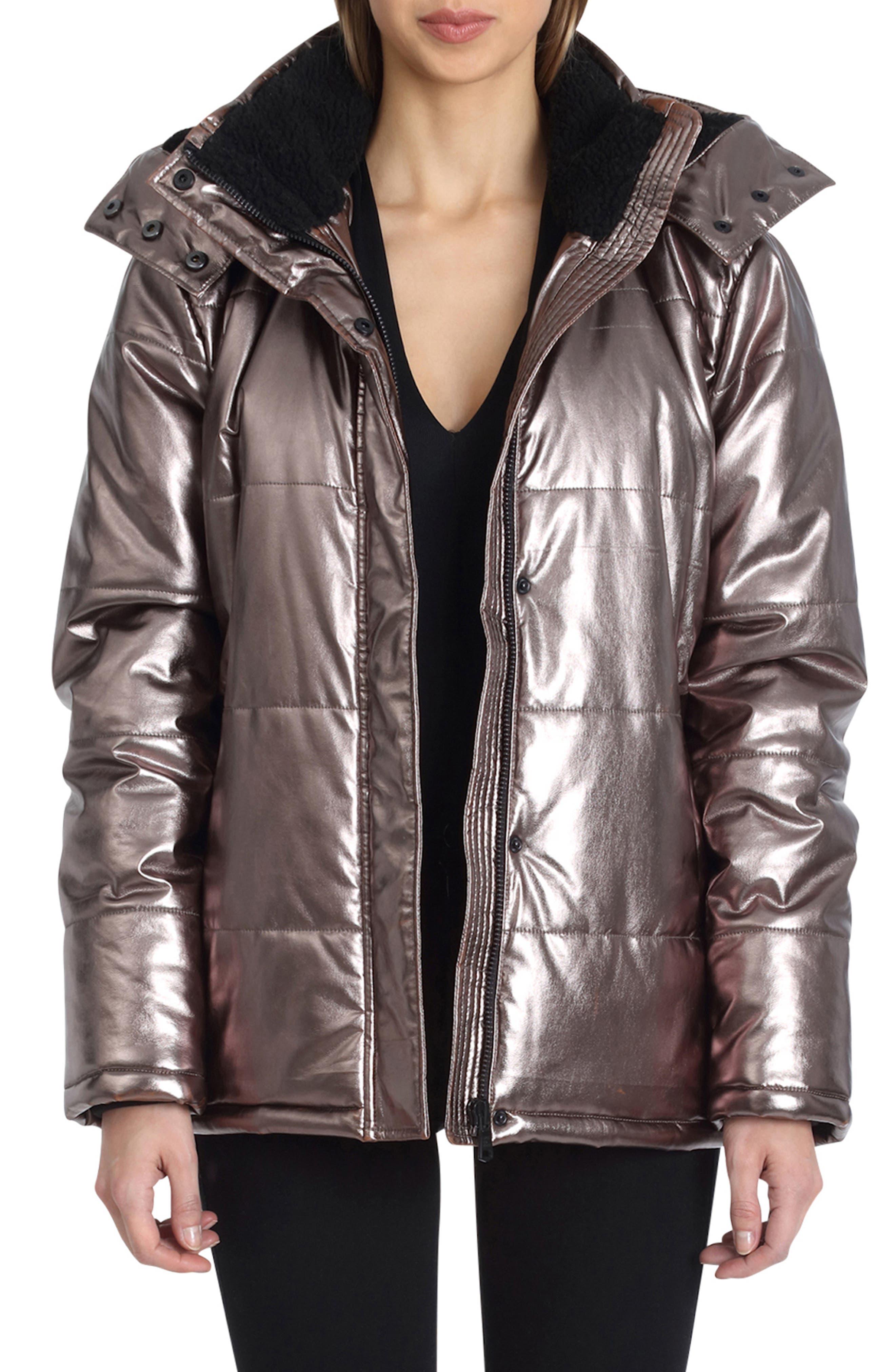 Metallic Puffer Coat,                         Main,                         color, BRONZE
