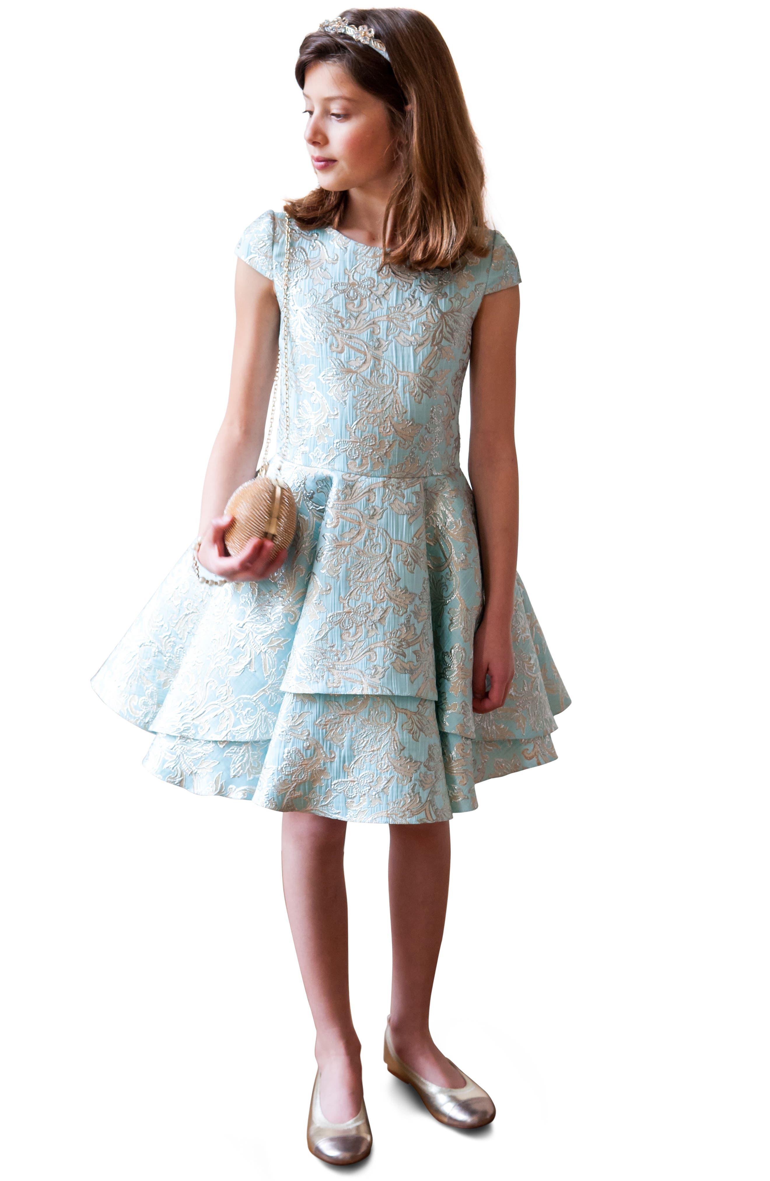 Floral Brocade Dress,                             Alternate thumbnail 2, color,                             440