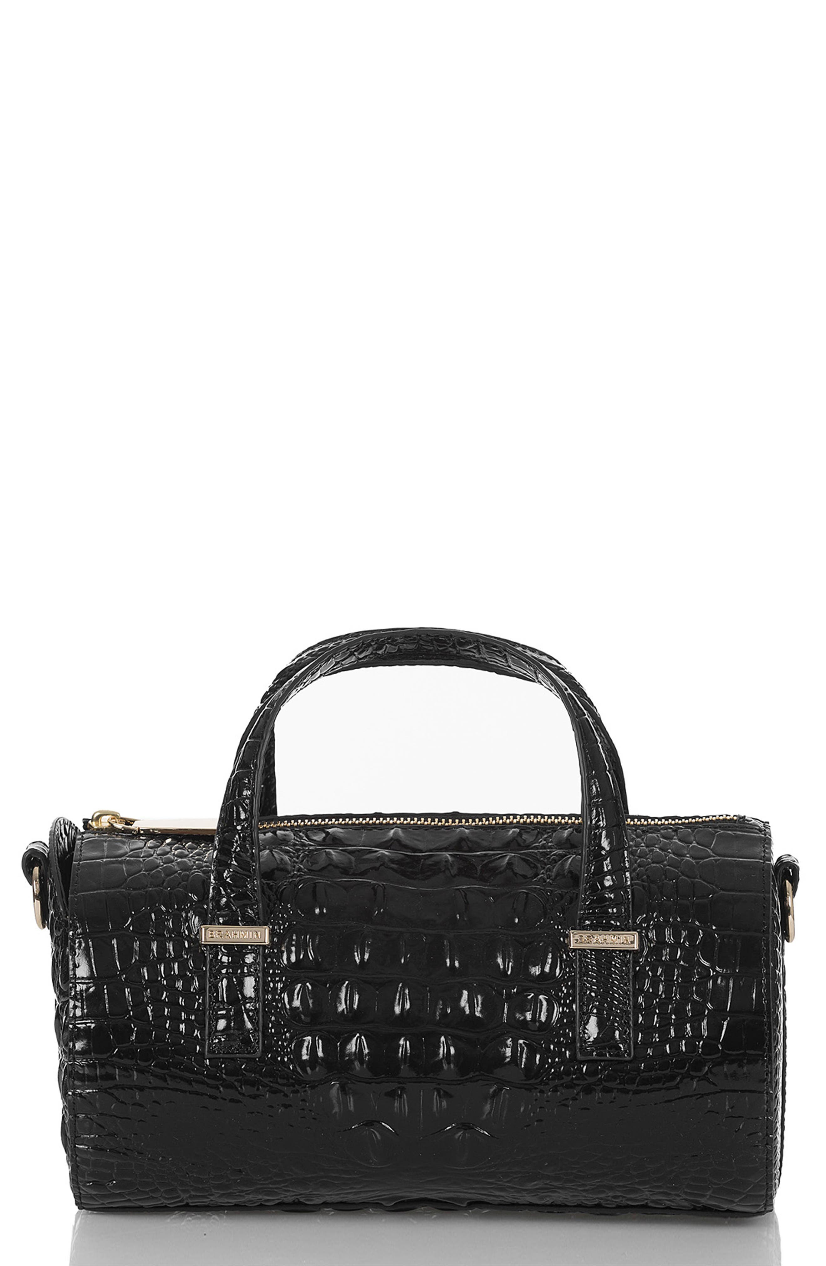 Claire Croc Embossed Leather Top Handle Bag,                         Main,                         color, BLACK MELBOURNE