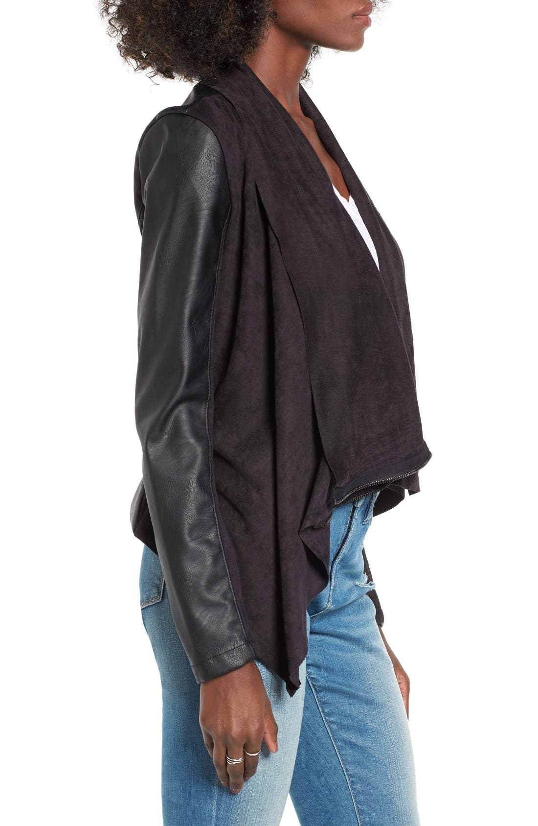 Mixed Media Faux Leather Drape Front Jacket,                             Alternate thumbnail 5, color,