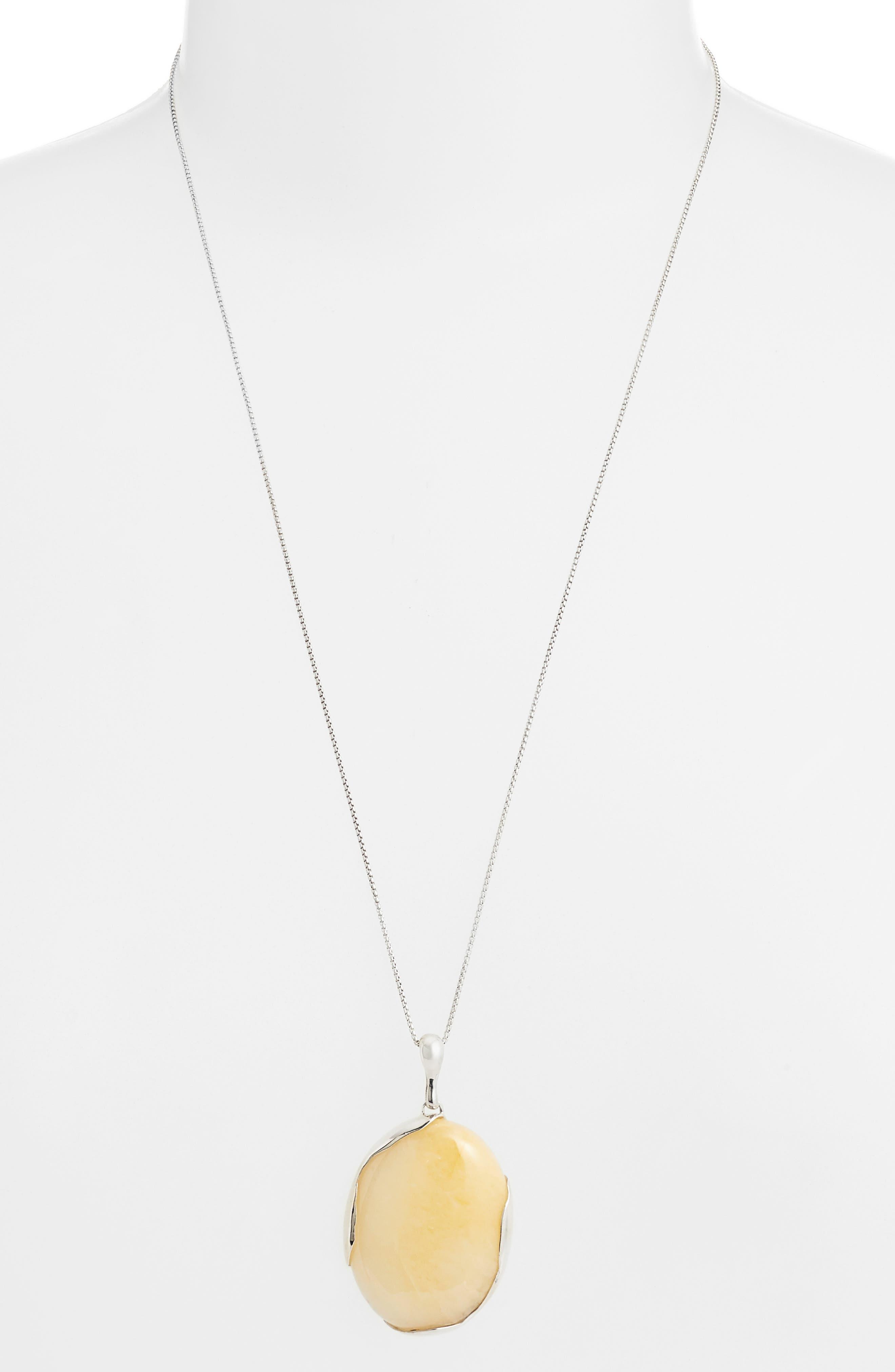 Ovo Long Pendant Necklace,                         Main,                         color, SILVER/ PINEAPPLE JASPER