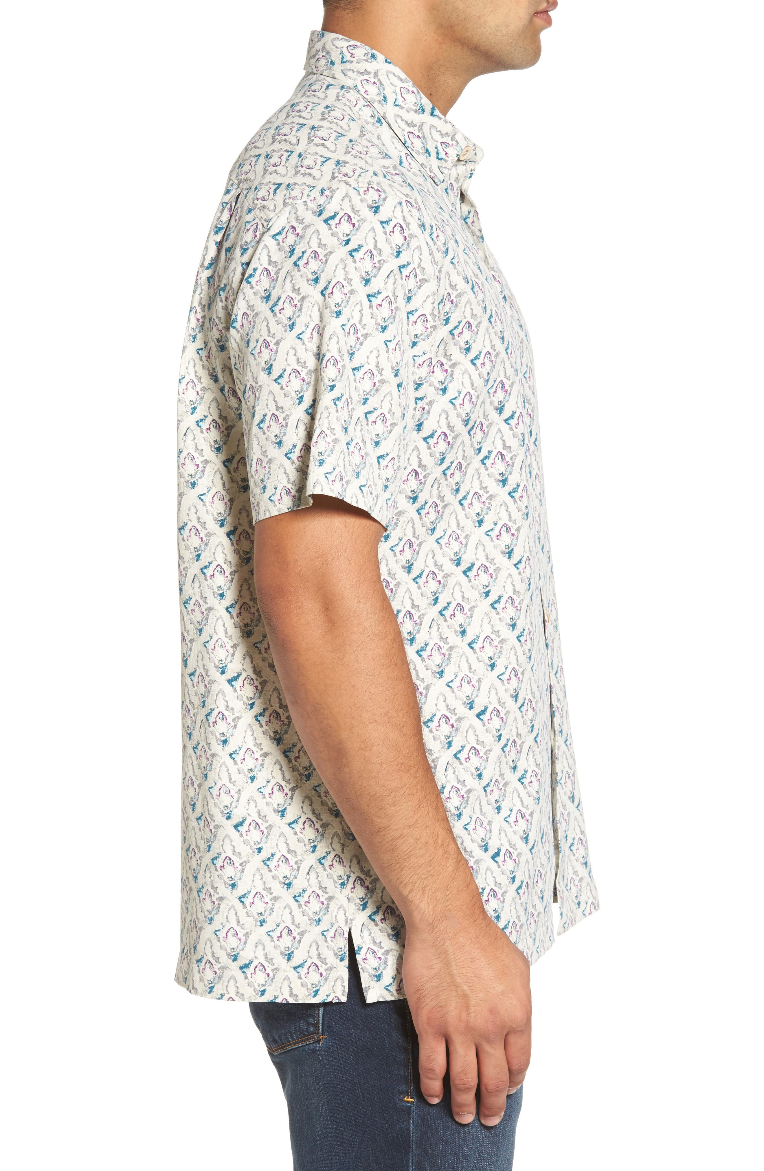 Alcazar Tiles Standard Fit Silk Camp Shirt,                             Alternate thumbnail 3, color,                             200