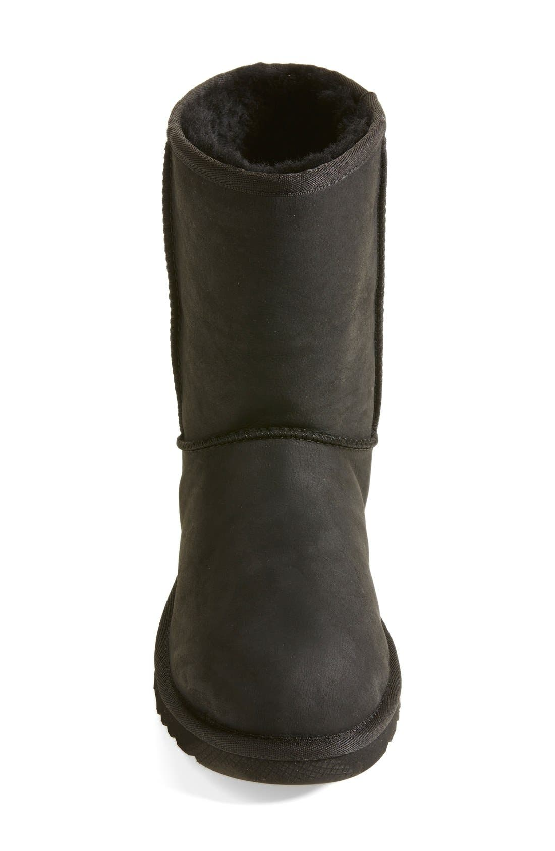 'Classic Short' Leather Water Resistant Boot,                             Alternate thumbnail 3, color,                             001