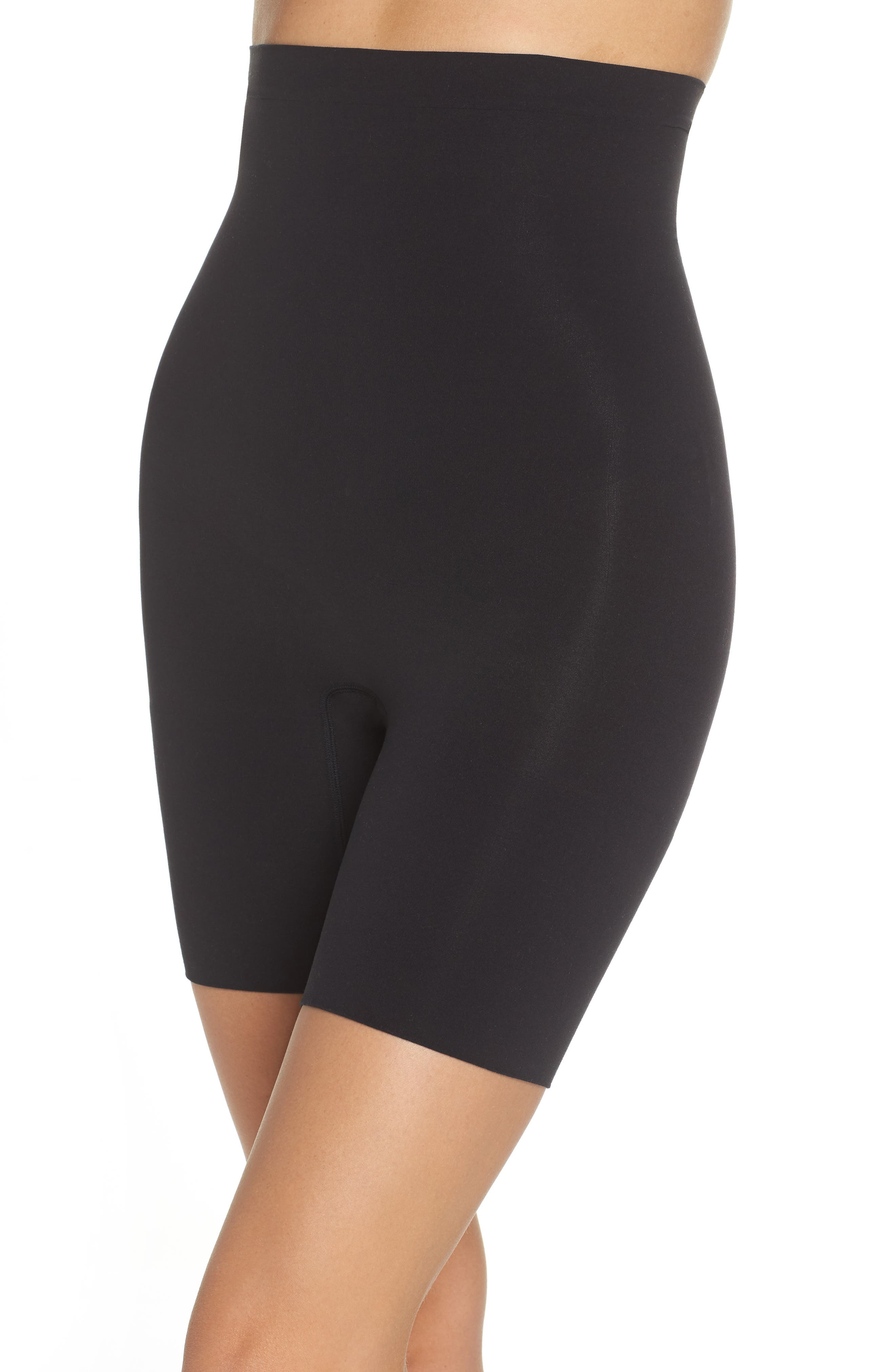 SPANX<SUP>®</SUP>,                             Higher Power Mid-Thigh Shaping Shorts,                             Alternate thumbnail 4, color,                             VERY BLACK