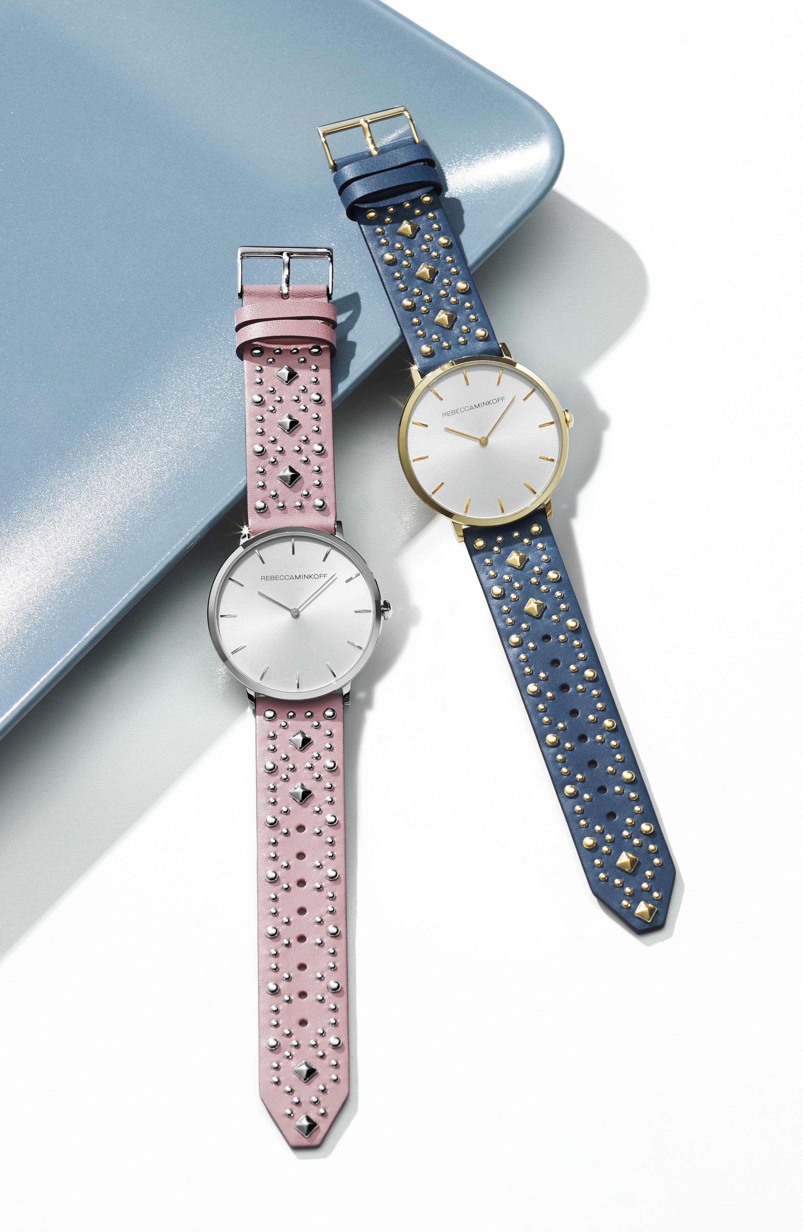 metro leather strap watch, 34mm,                             Alternate thumbnail 3, color,                             BLUSH/ CREAM/ GOLD