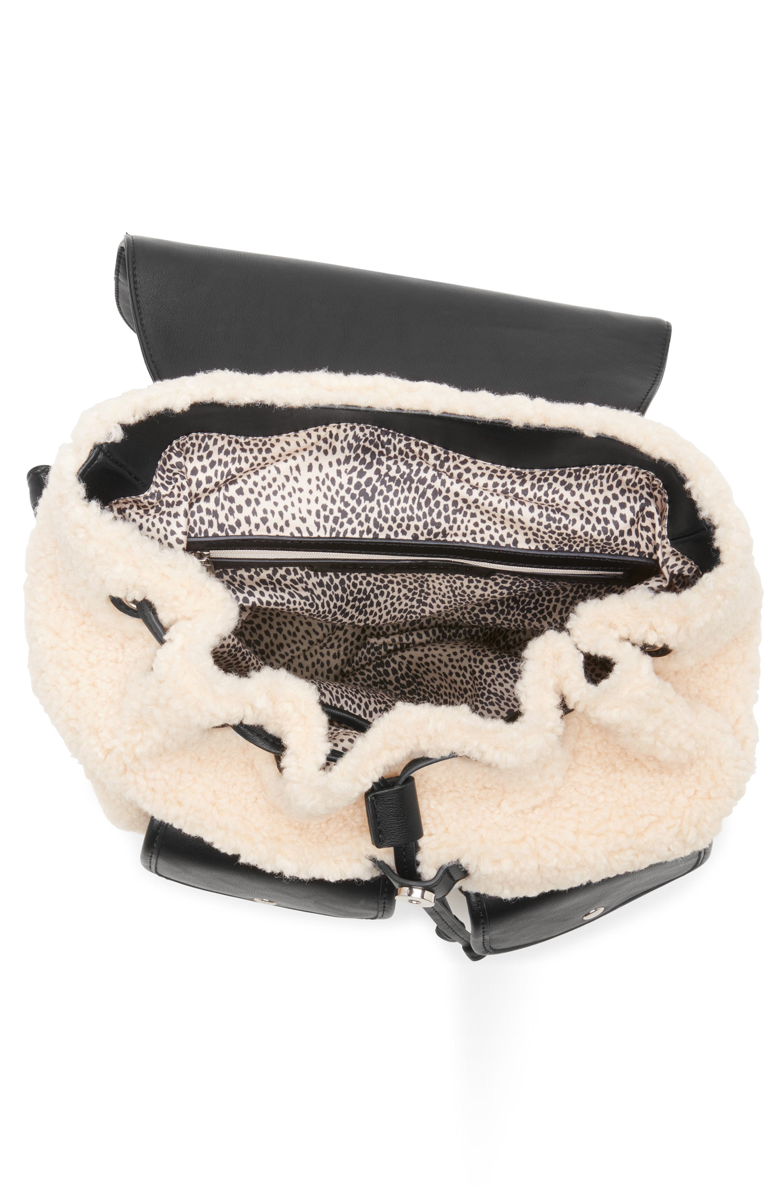 Drury Faux Shearling & Faux Leather Backpack,                             Alternate thumbnail 3, color,                             BLACK COMBO
