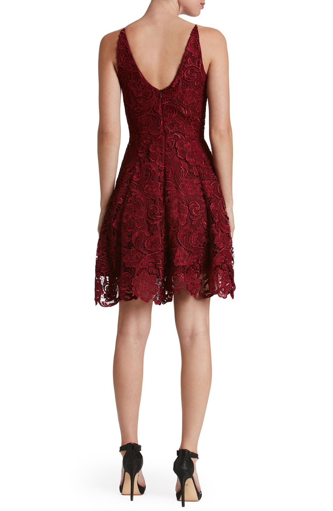 'Hayden' Lace Fit & Flare Dress,                             Alternate thumbnail 4, color,