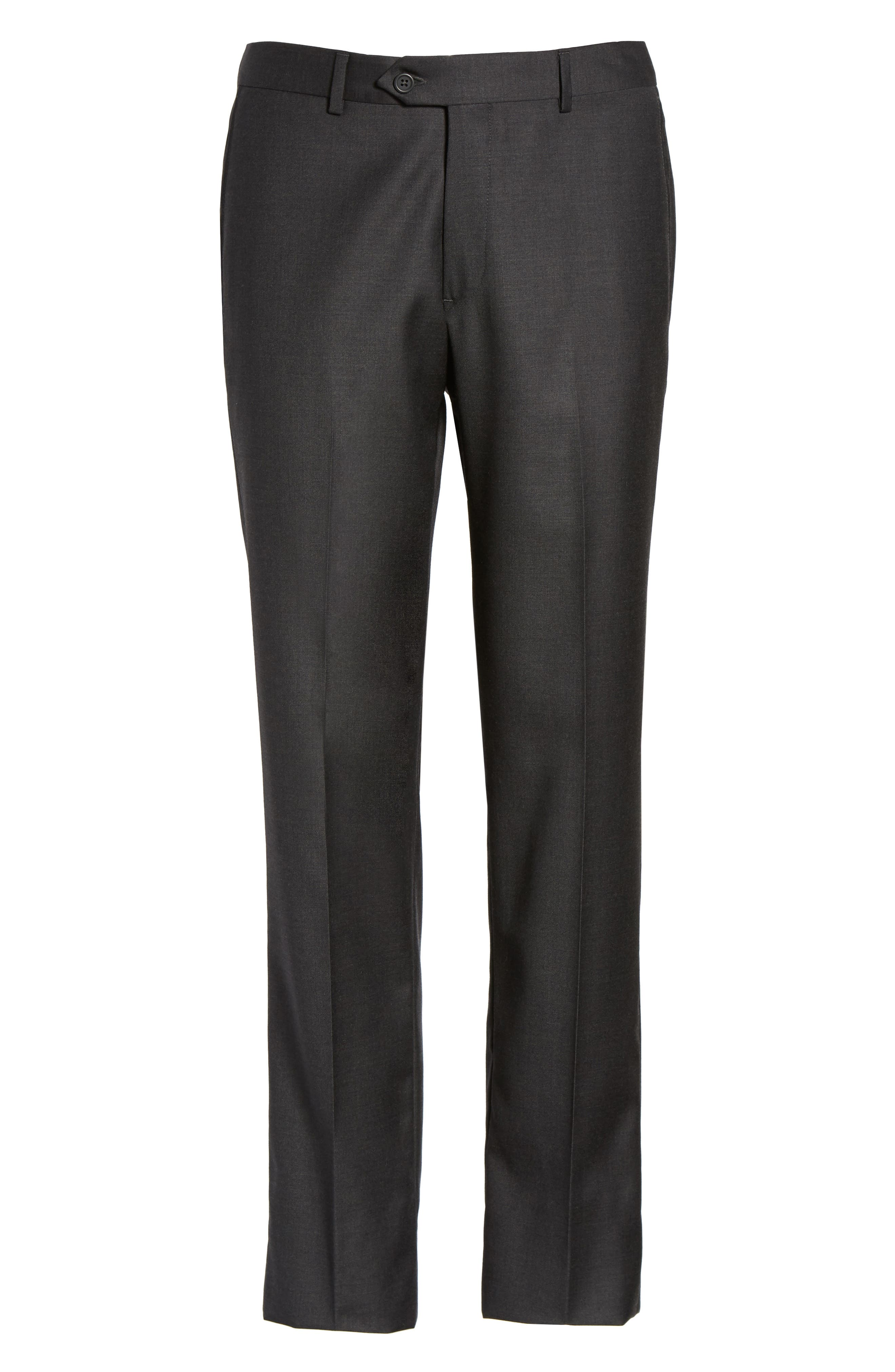 Flat Front Solid Wool Trousers,                             Alternate thumbnail 32, color,