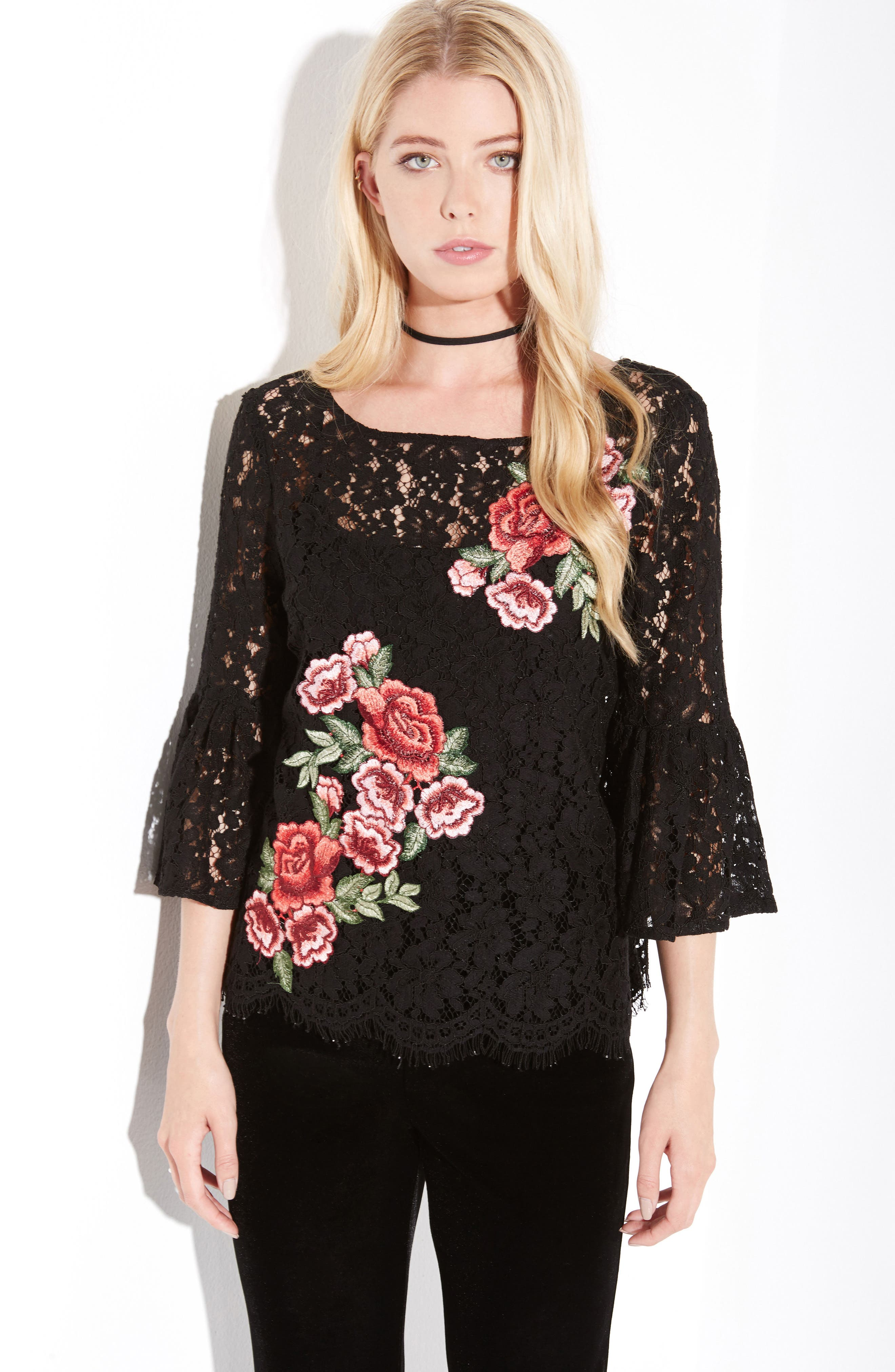 Lace Embellished Bell Sleeve Top,                             Alternate thumbnail 5, color,