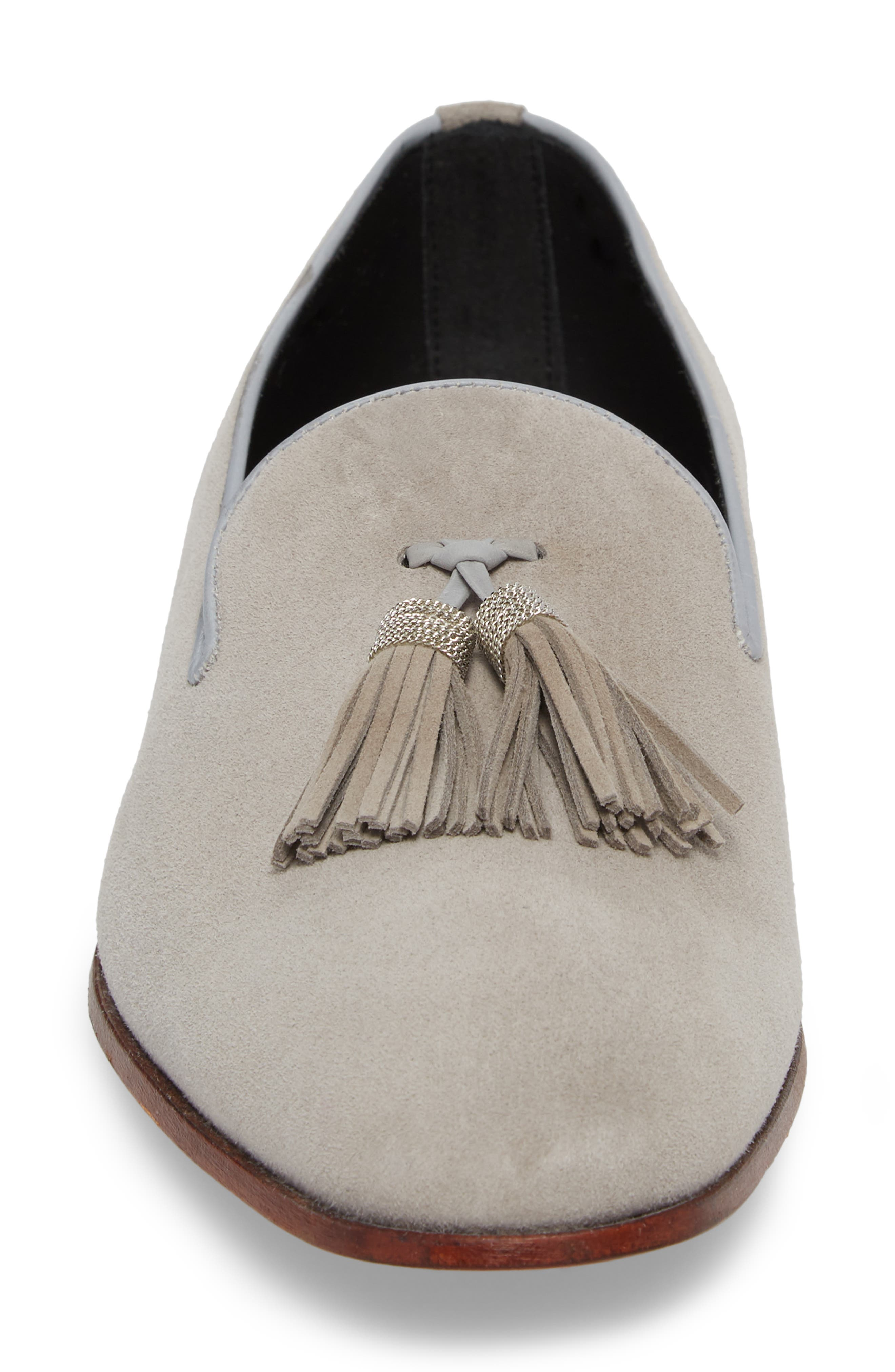Picus Tassel Loafer,                             Alternate thumbnail 4, color,                             PEARL GREY SUEDE