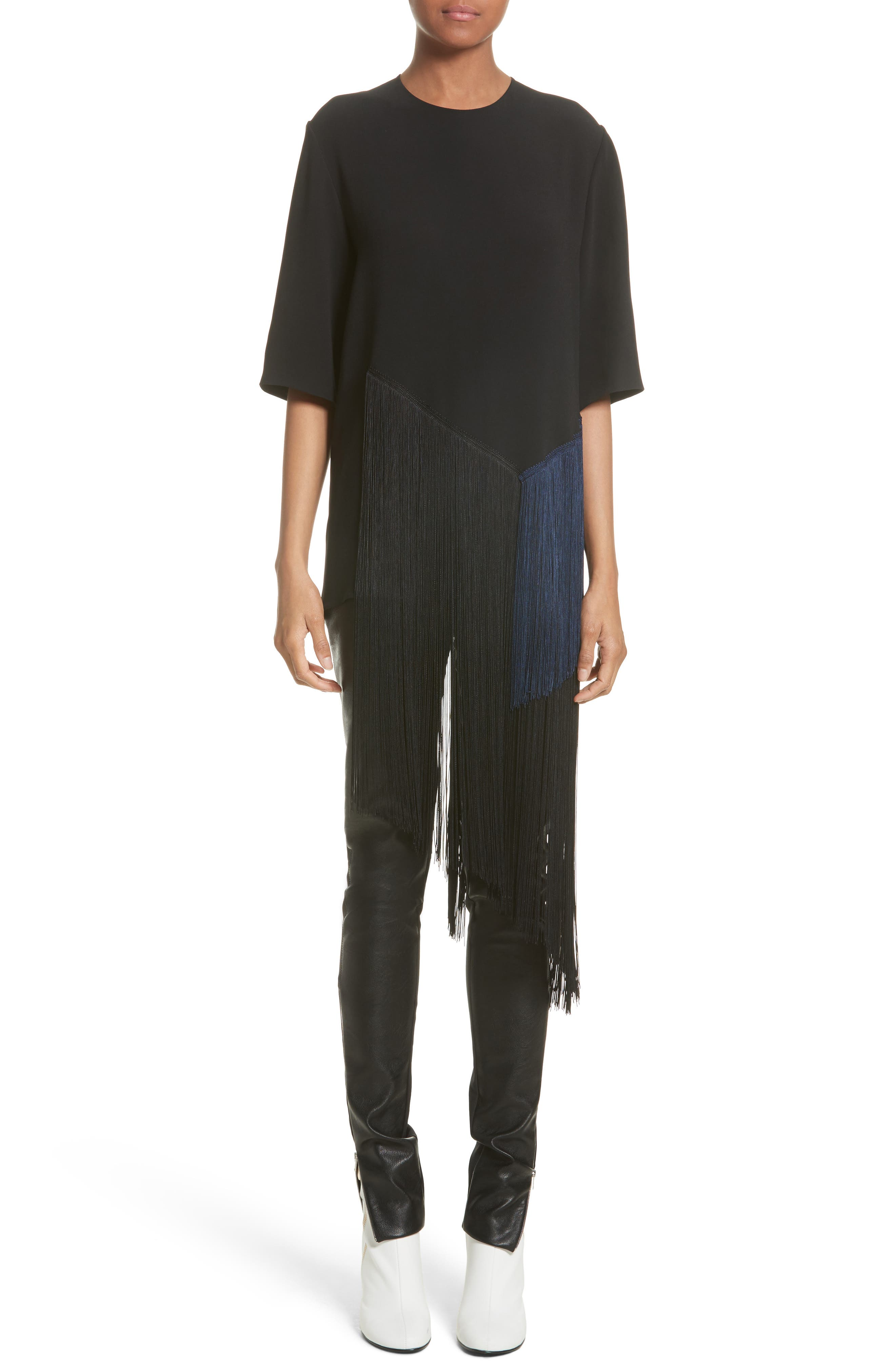 Stretch Cady Fringe Top,                             Alternate thumbnail 6, color,