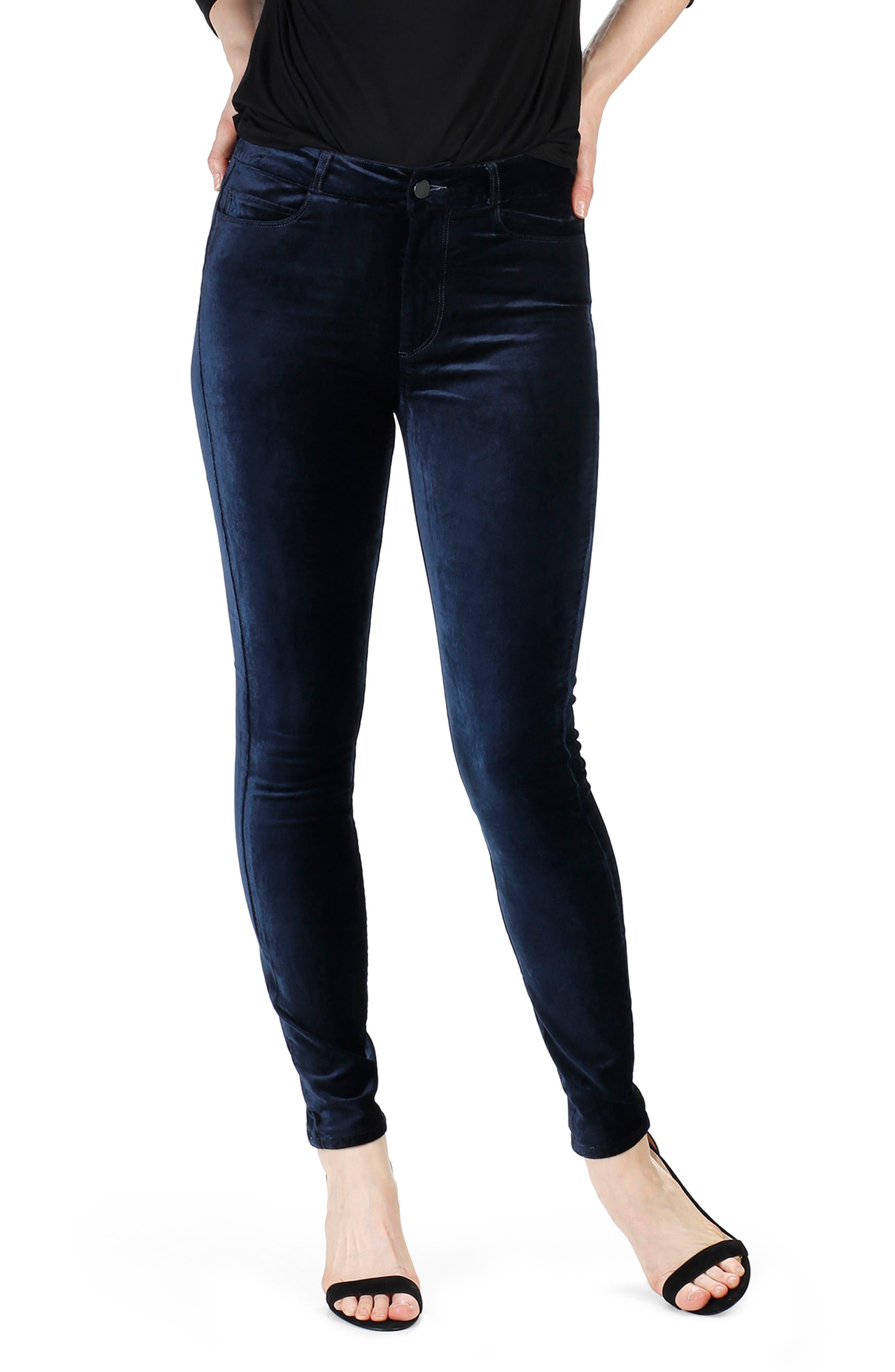 Hoxton Velvet Skinny Jeans,                         Main,                         color, 400