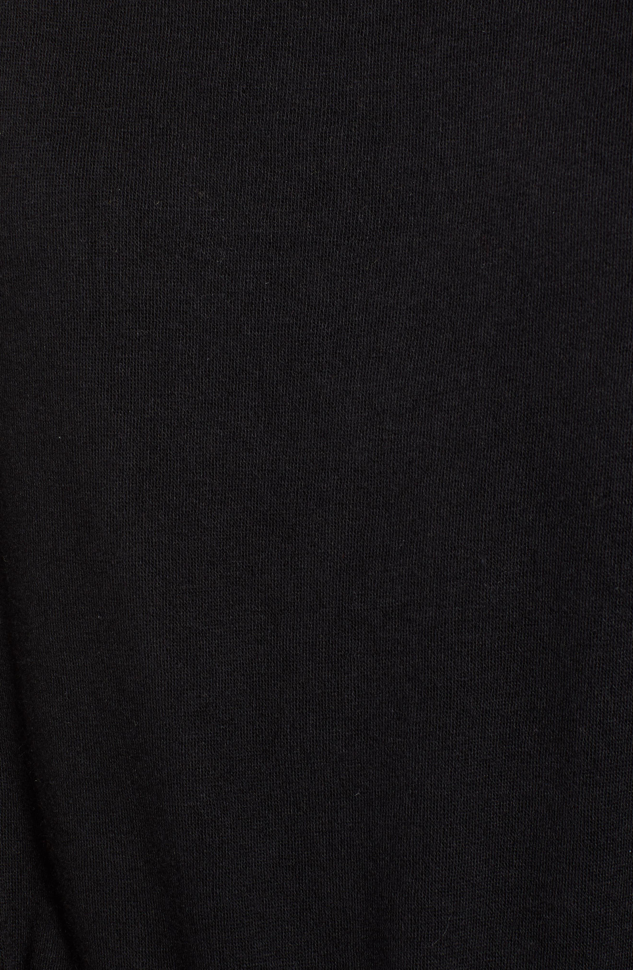 Belted Sweatshirt Dress,                             Alternate thumbnail 6, color,                             BLACK
