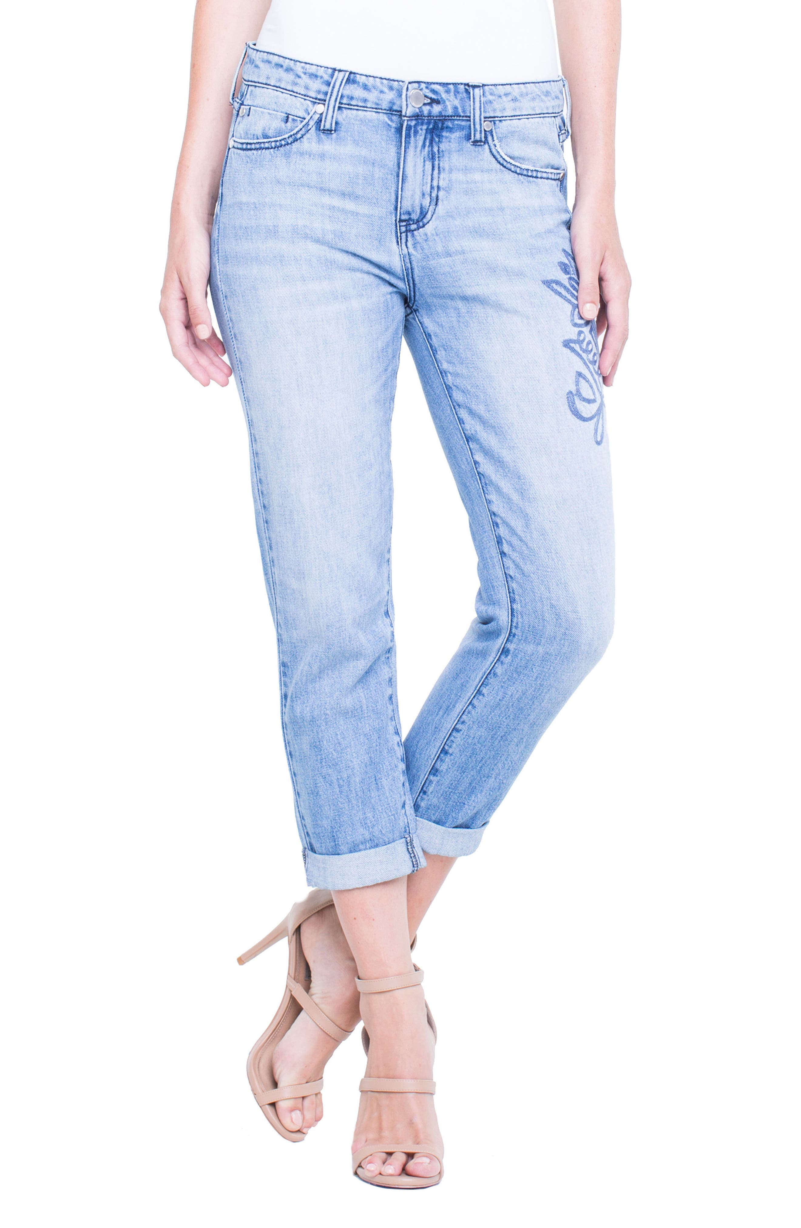 Cameron Embroidered Crop Boyfriend Jeans,                             Alternate thumbnail 4, color,                             404