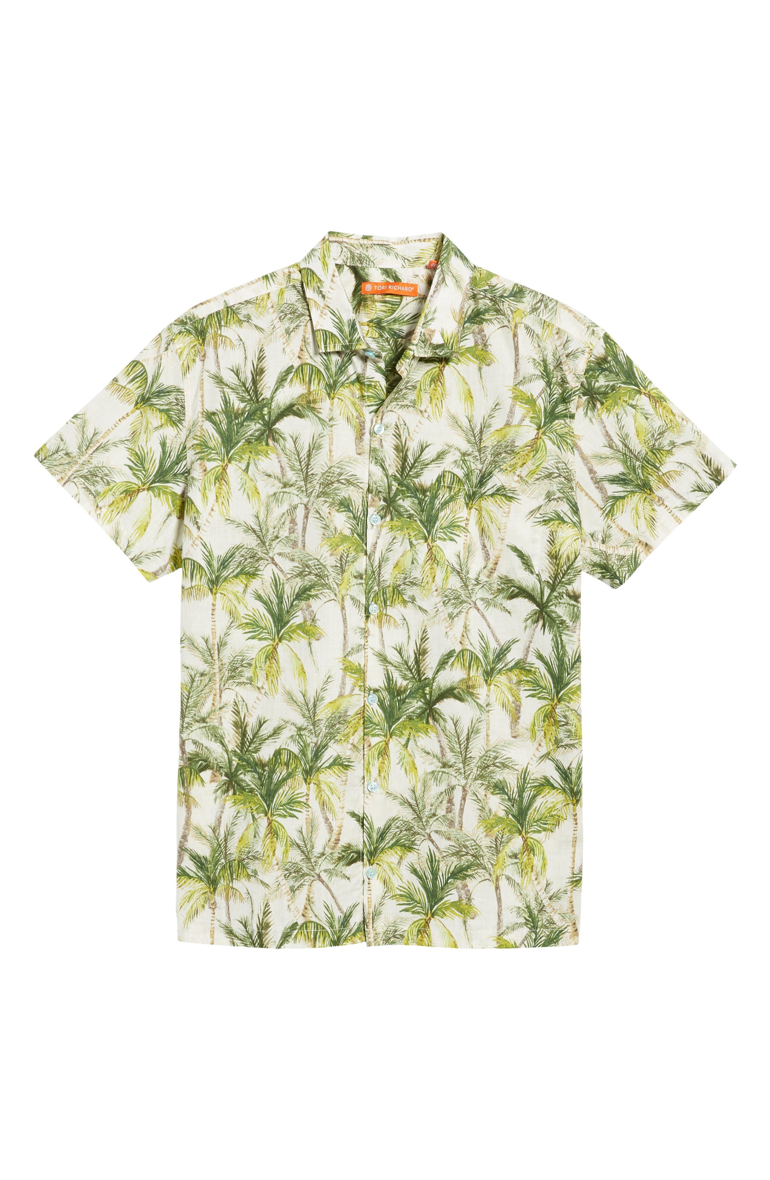 Coco Vida Trim Fit Print Cotton Lawn Sport Shirt,                             Alternate thumbnail 6, color,                             102