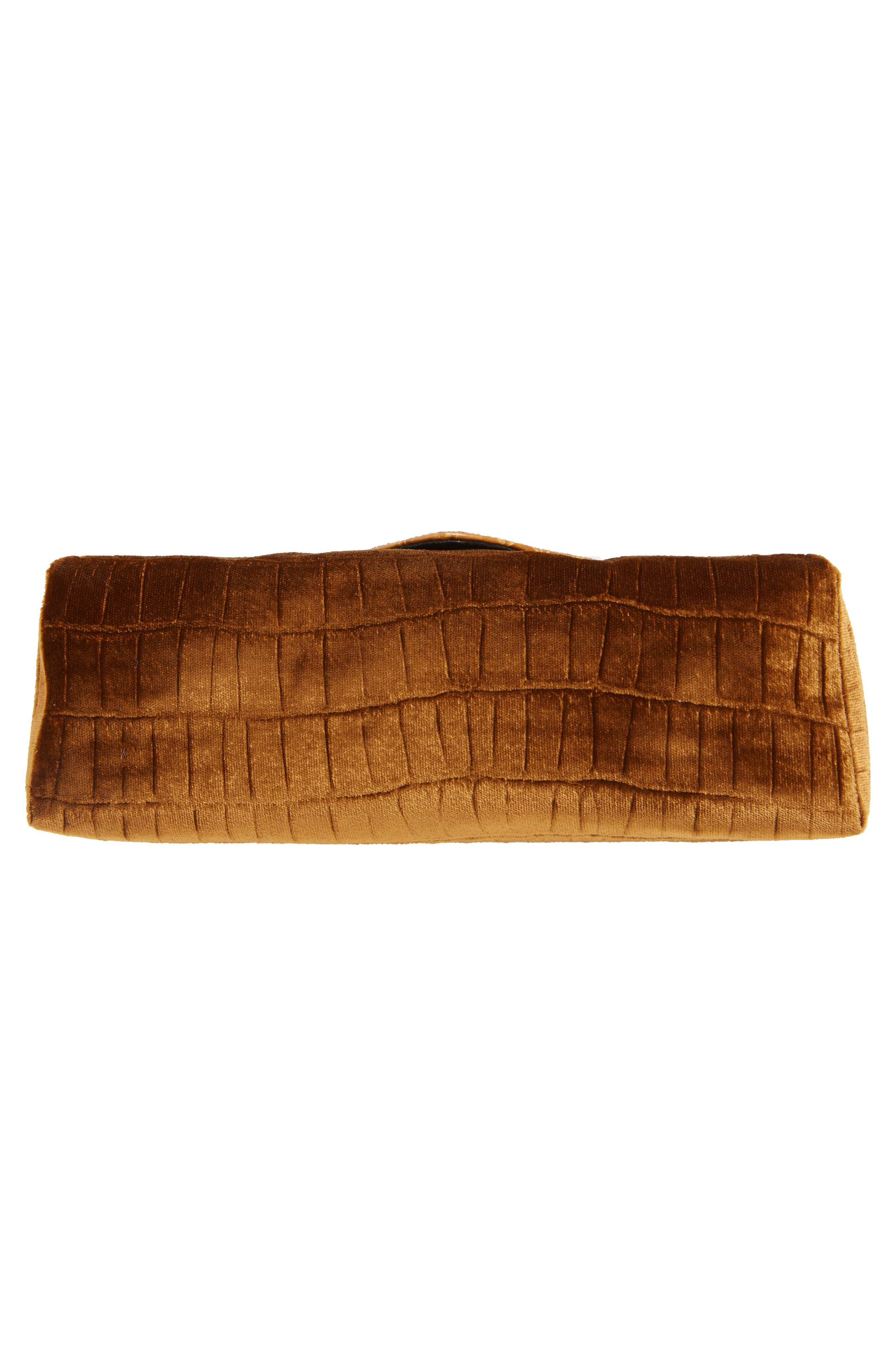 Velvet Envelope Clutch,                             Alternate thumbnail 6, color,                             TAN