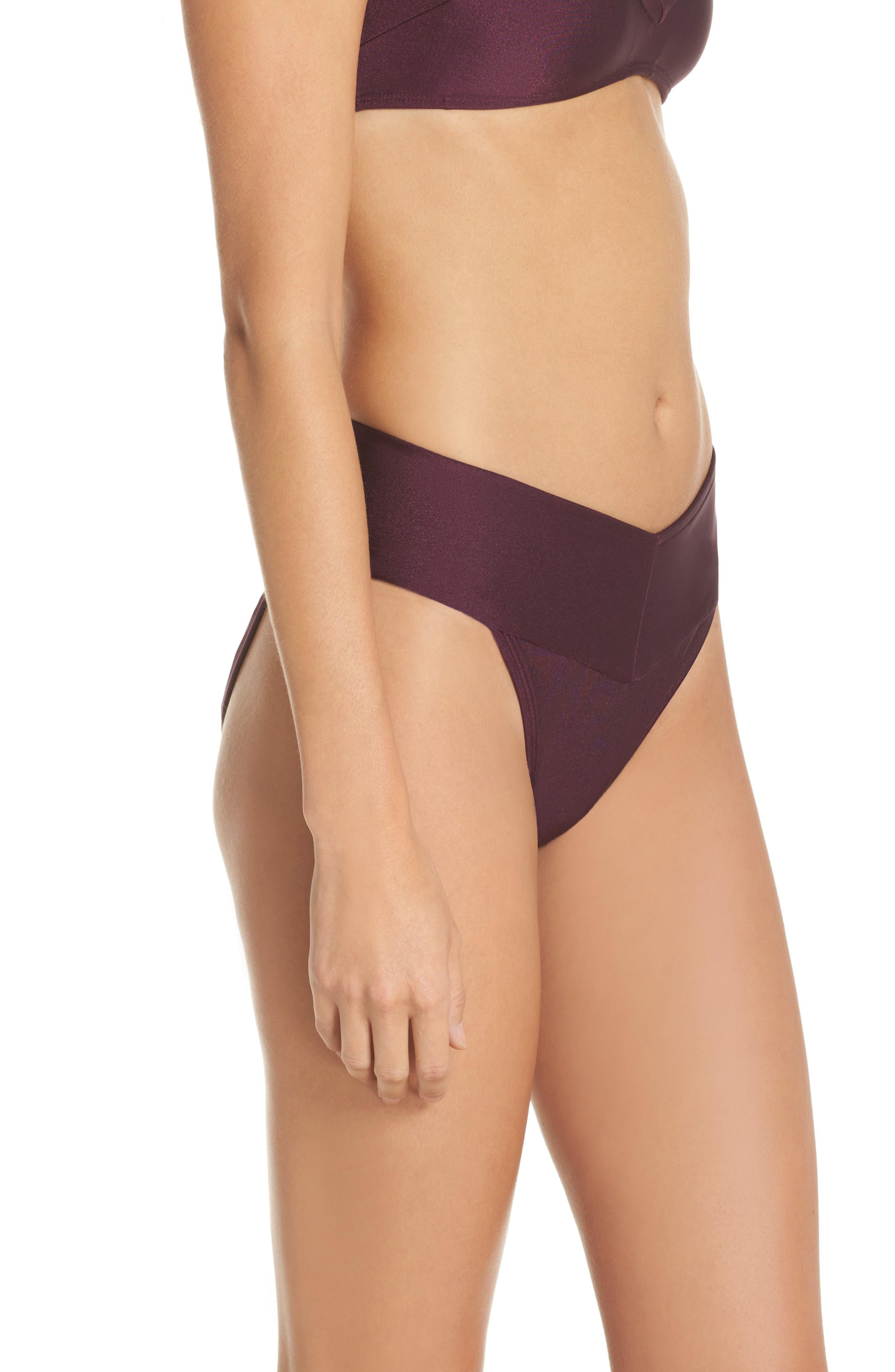 Ted Baker High Waisted Wrap Bikini Bottom,                             Alternate thumbnail 3, color,                             DEEP PURPLE