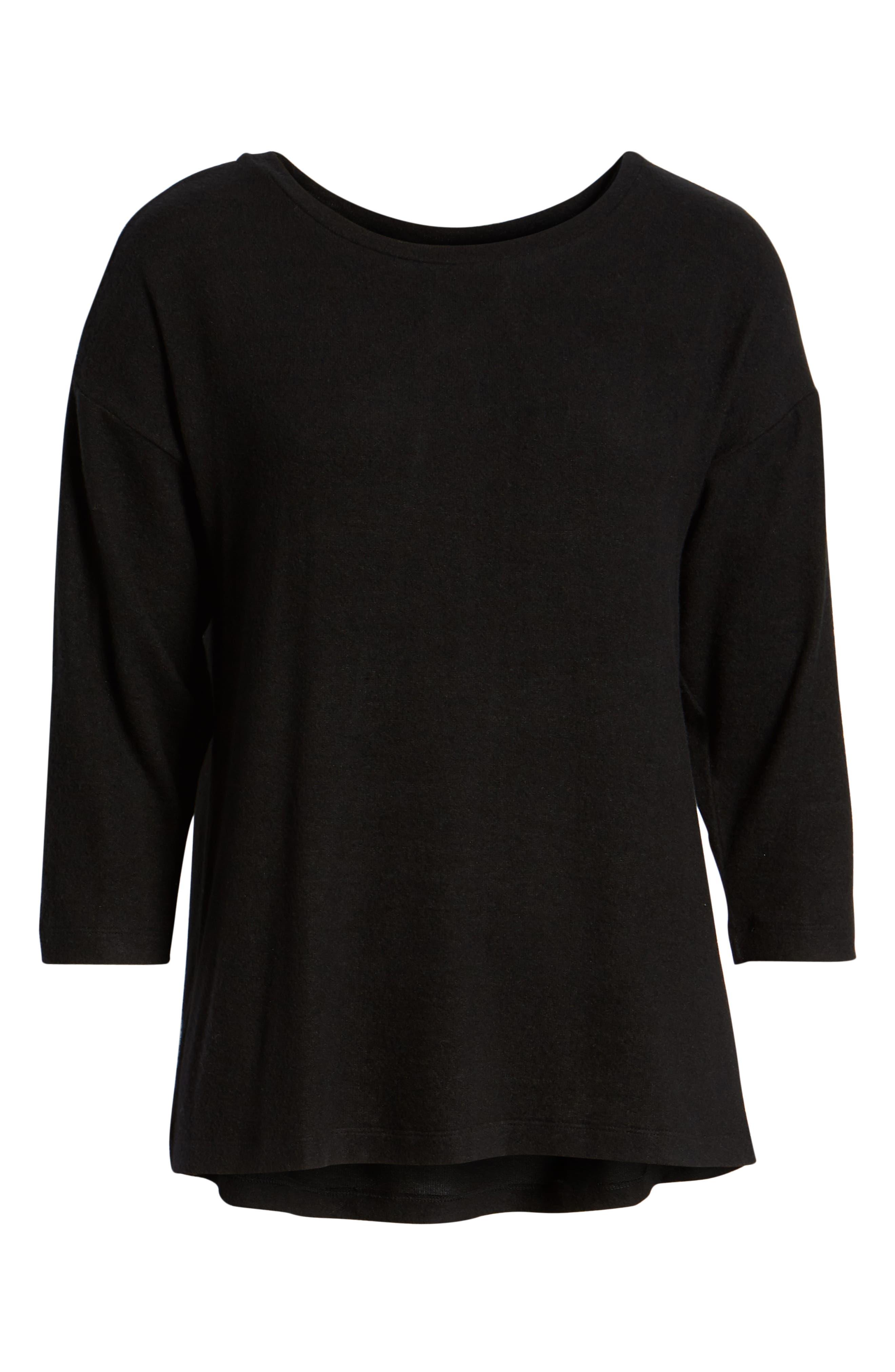 BOBEAU,                             Pleat Back Pullover,                             Alternate thumbnail 6, color,                             001