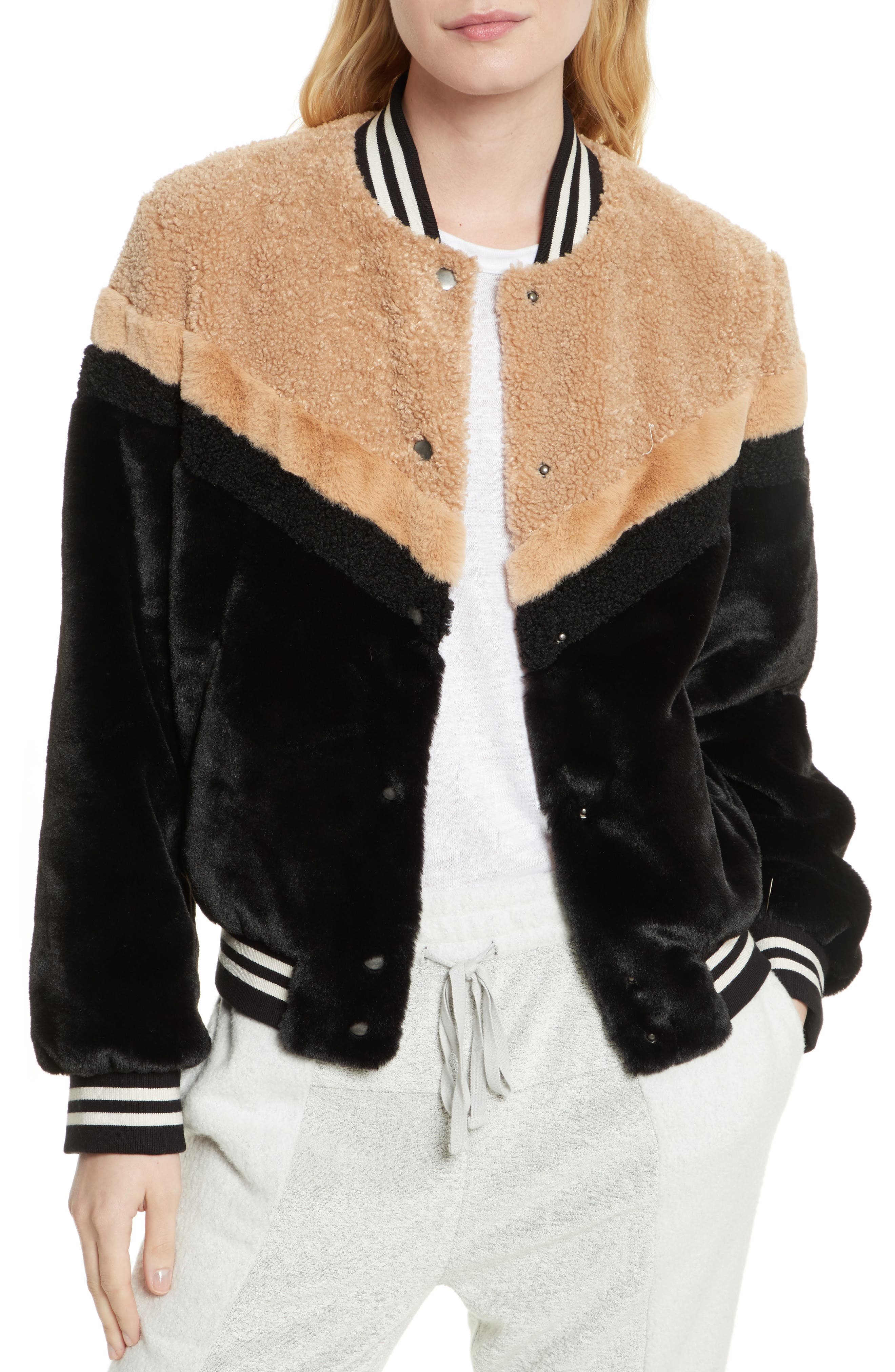 Mixed Faux Fur Bomber Jacket,                         Main,                         color,