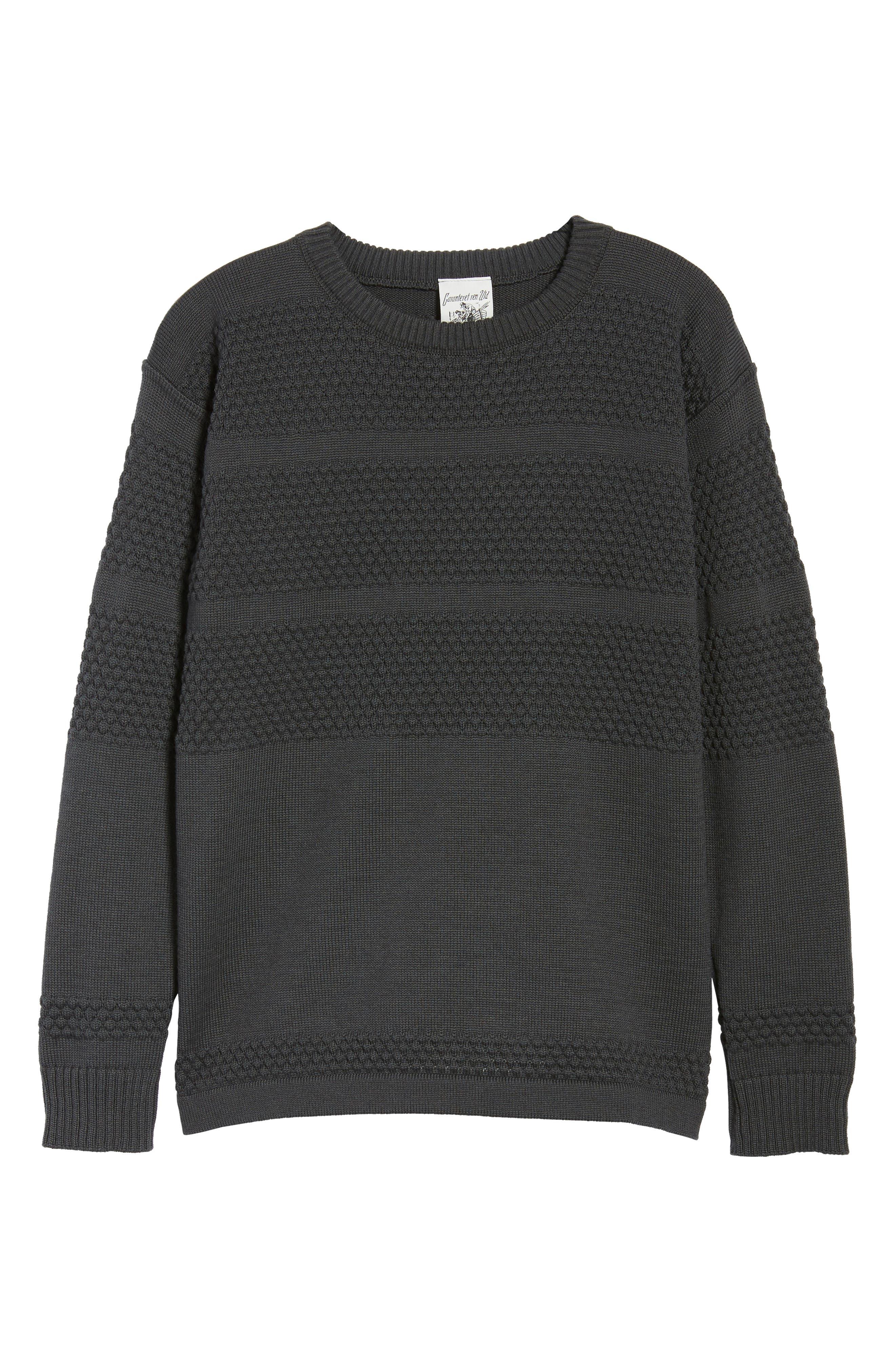 Fisherman Crewneck Wool Sweater,                             Alternate thumbnail 6, color,                             020