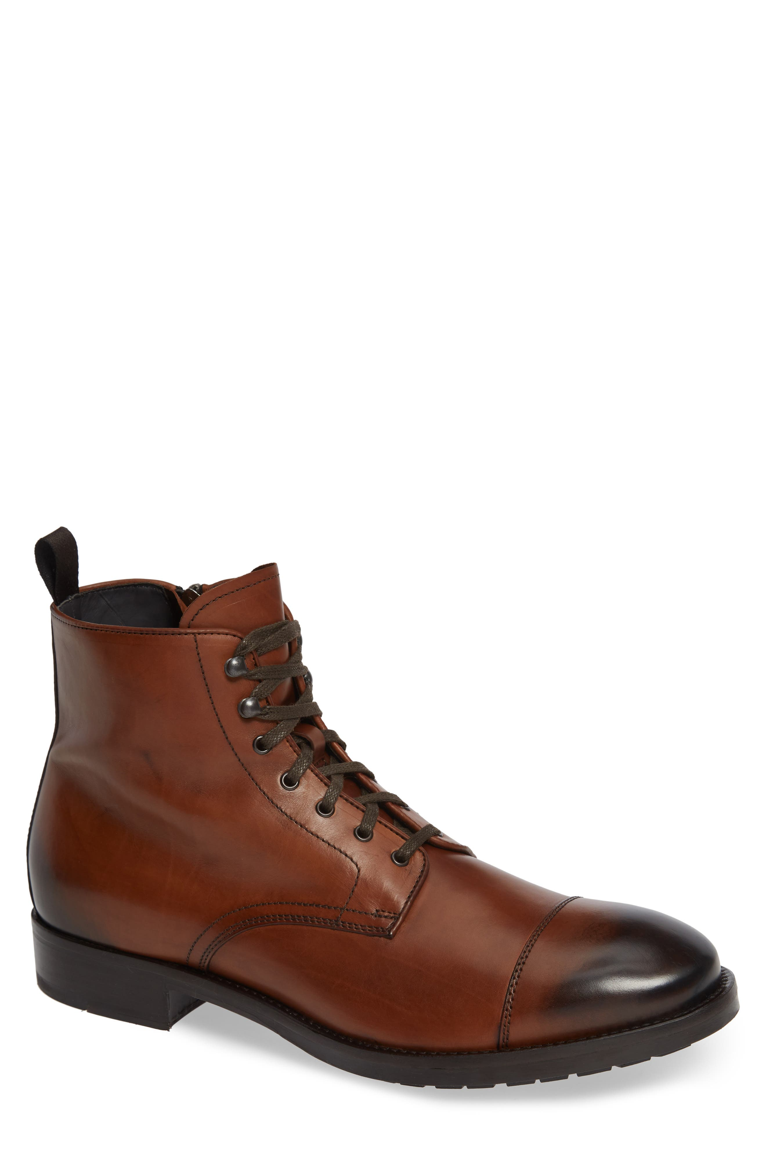 Concord Cap Toe Boot,                             Main thumbnail 1, color,                             BROWN LEATHER