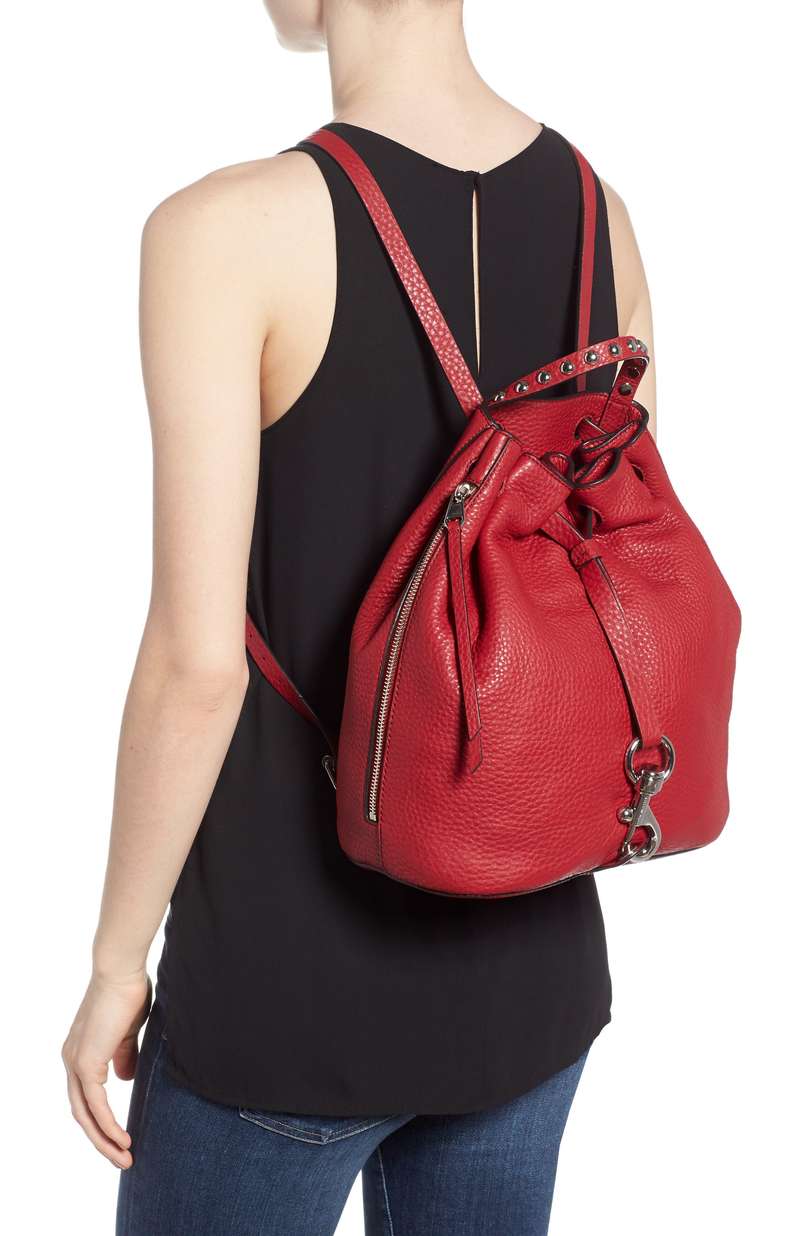 Blythe Leather Backpack,                             Alternate thumbnail 2, color,                             SCARLET