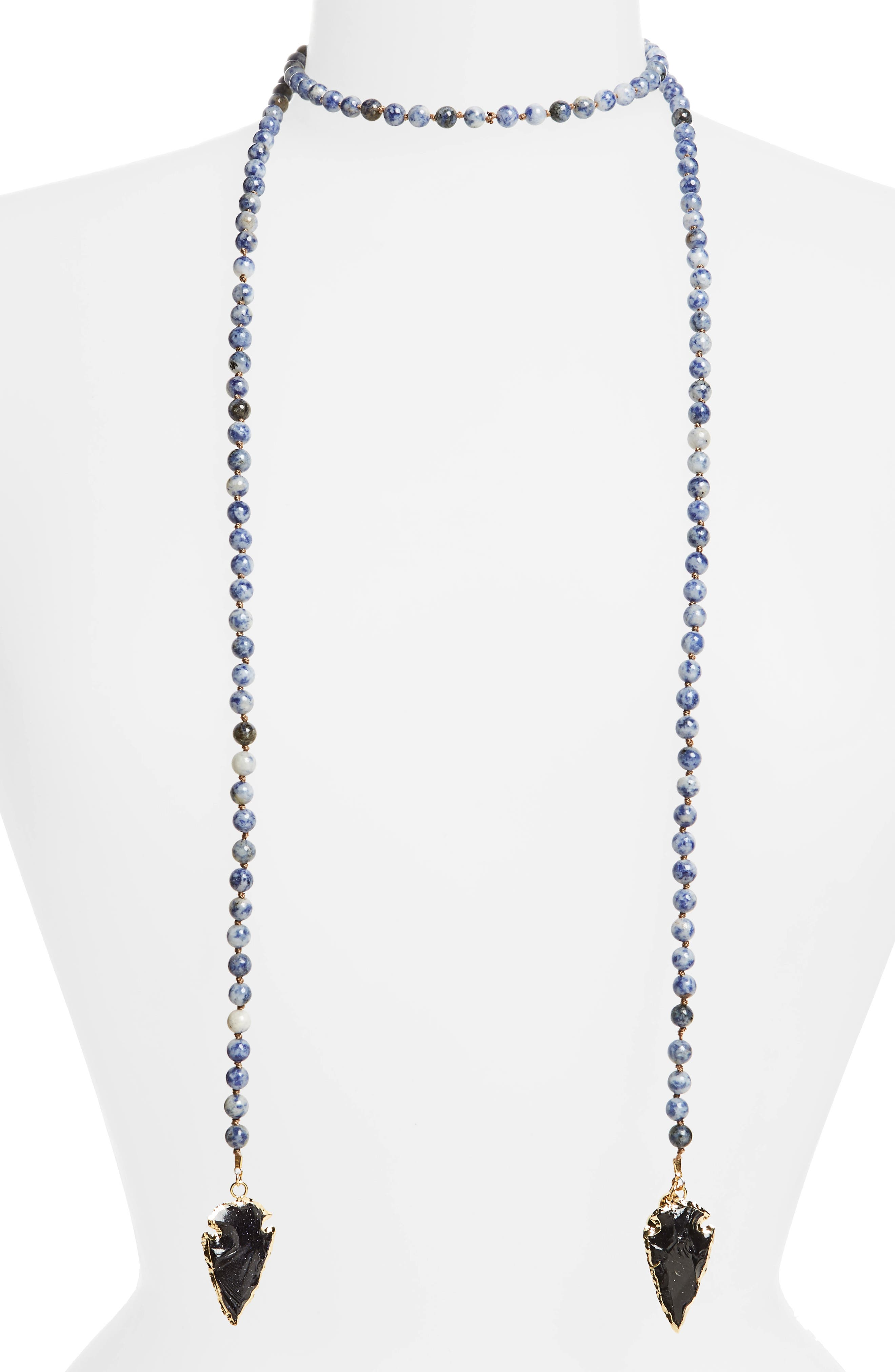 Love's Affect Knotted Semiprecious Wrap Necklace,                             Main thumbnail 1, color,                             001