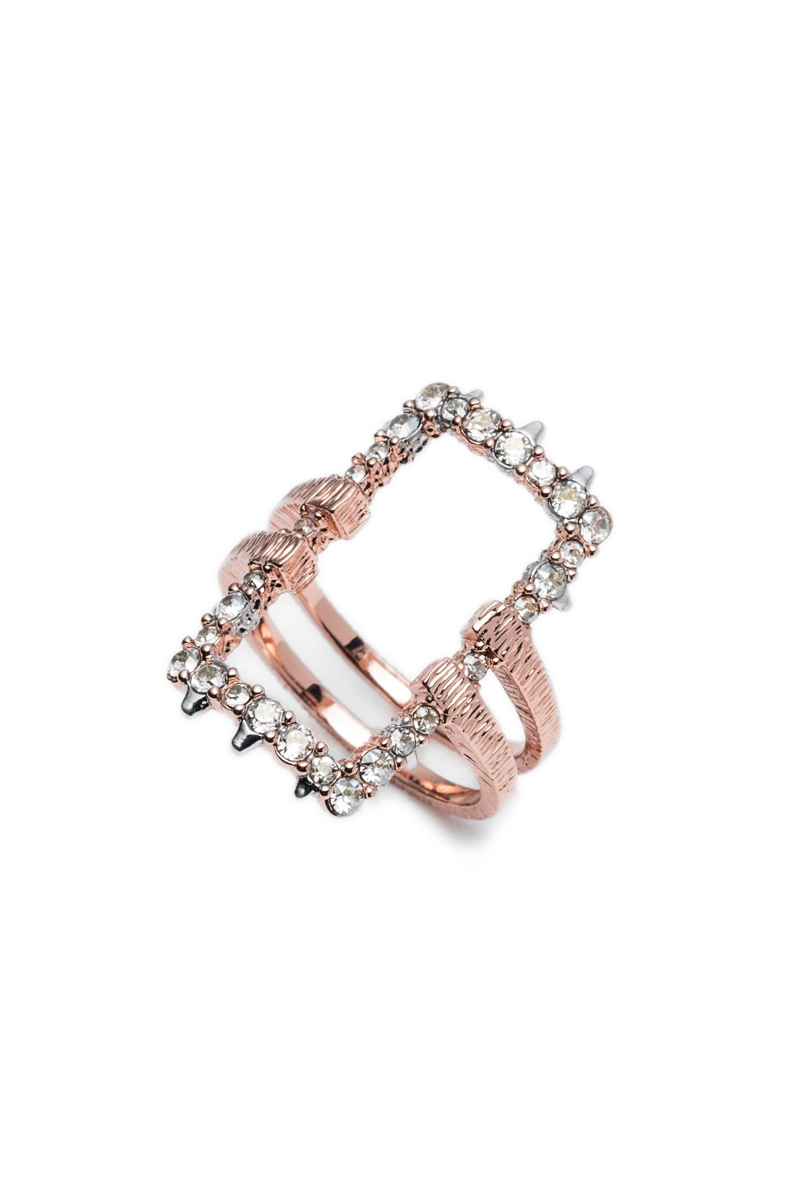 Elements Rectangle Ring,                             Alternate thumbnail 2, color,                             ROSE GOLD