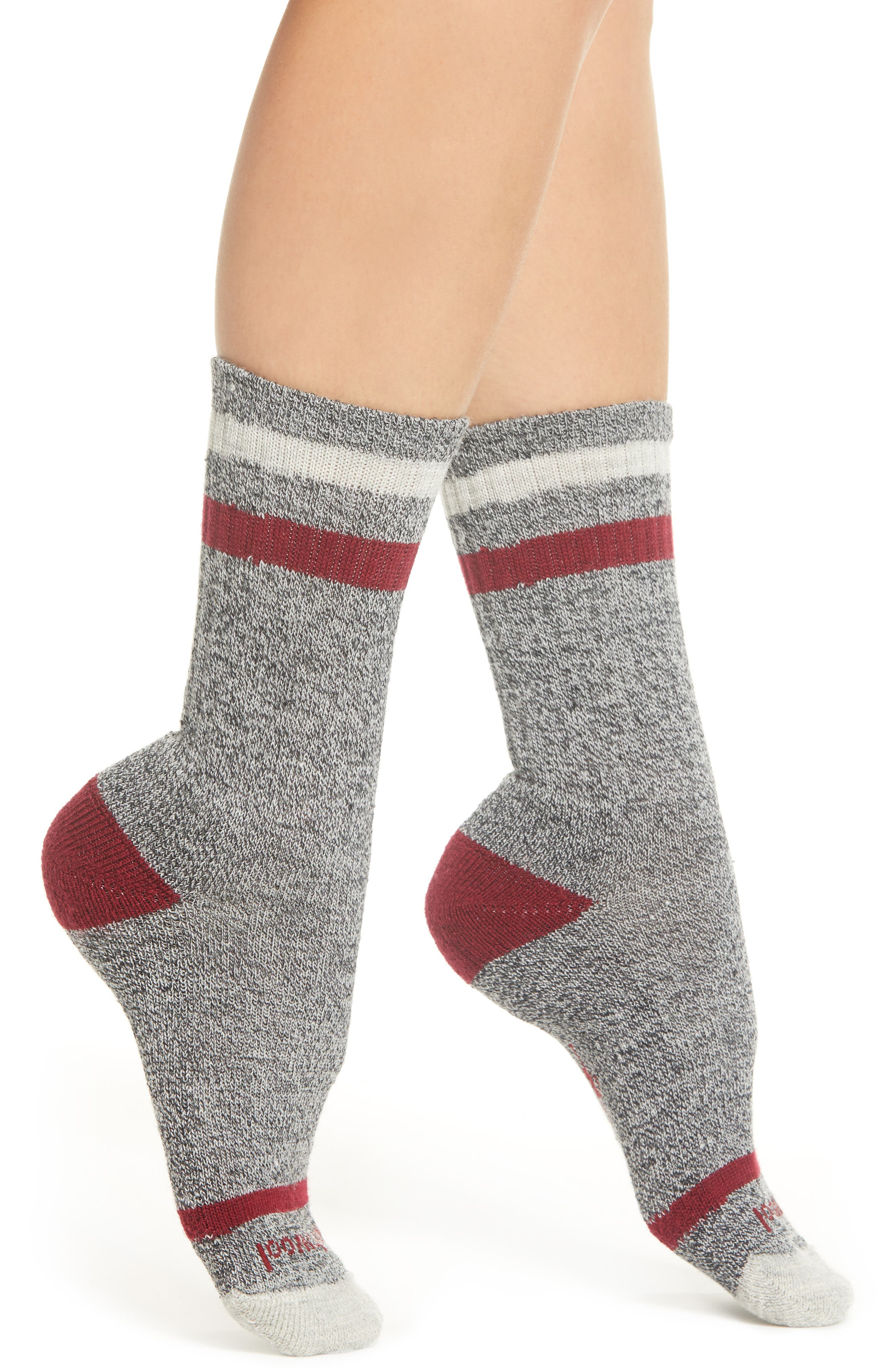 Birkie Stripe Crew Socks,                         Main,                         color, TIBETAN RED HEATHER
