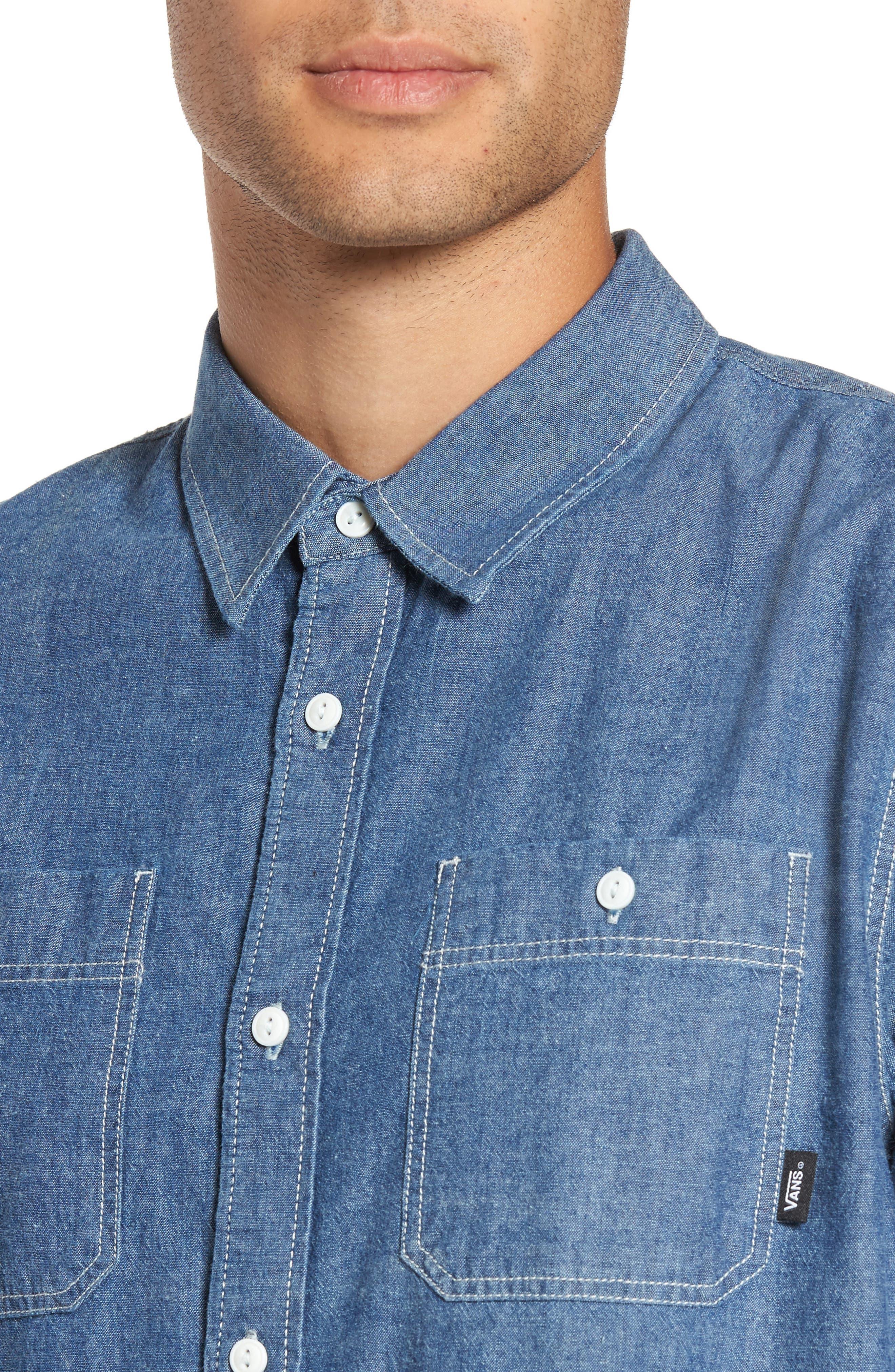 Carlow Chambray Woven Shirt,                             Alternate thumbnail 4, color,