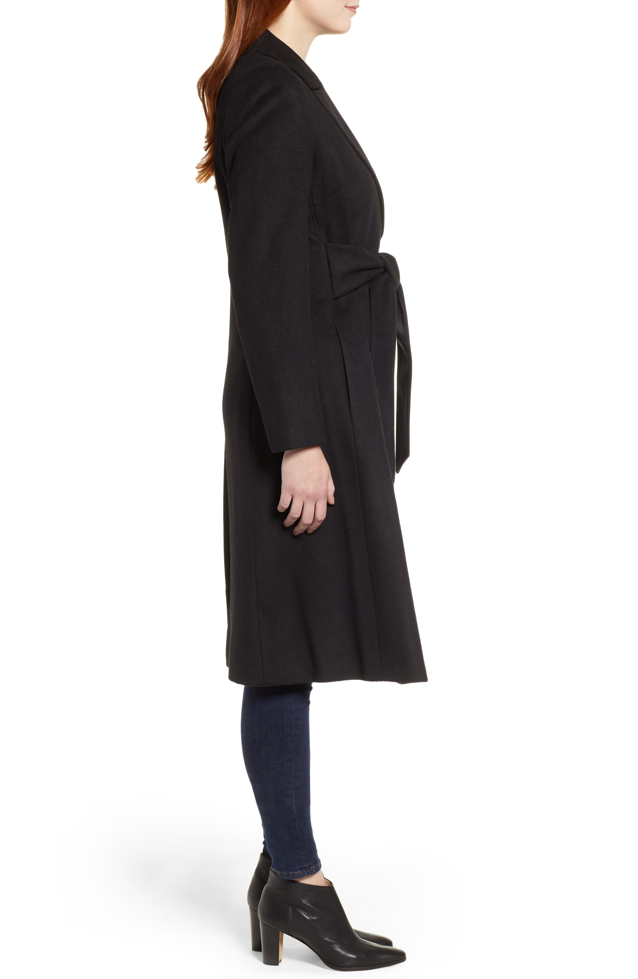 Wool Blend Trench Coat,                             Alternate thumbnail 3, color,                             BLACK