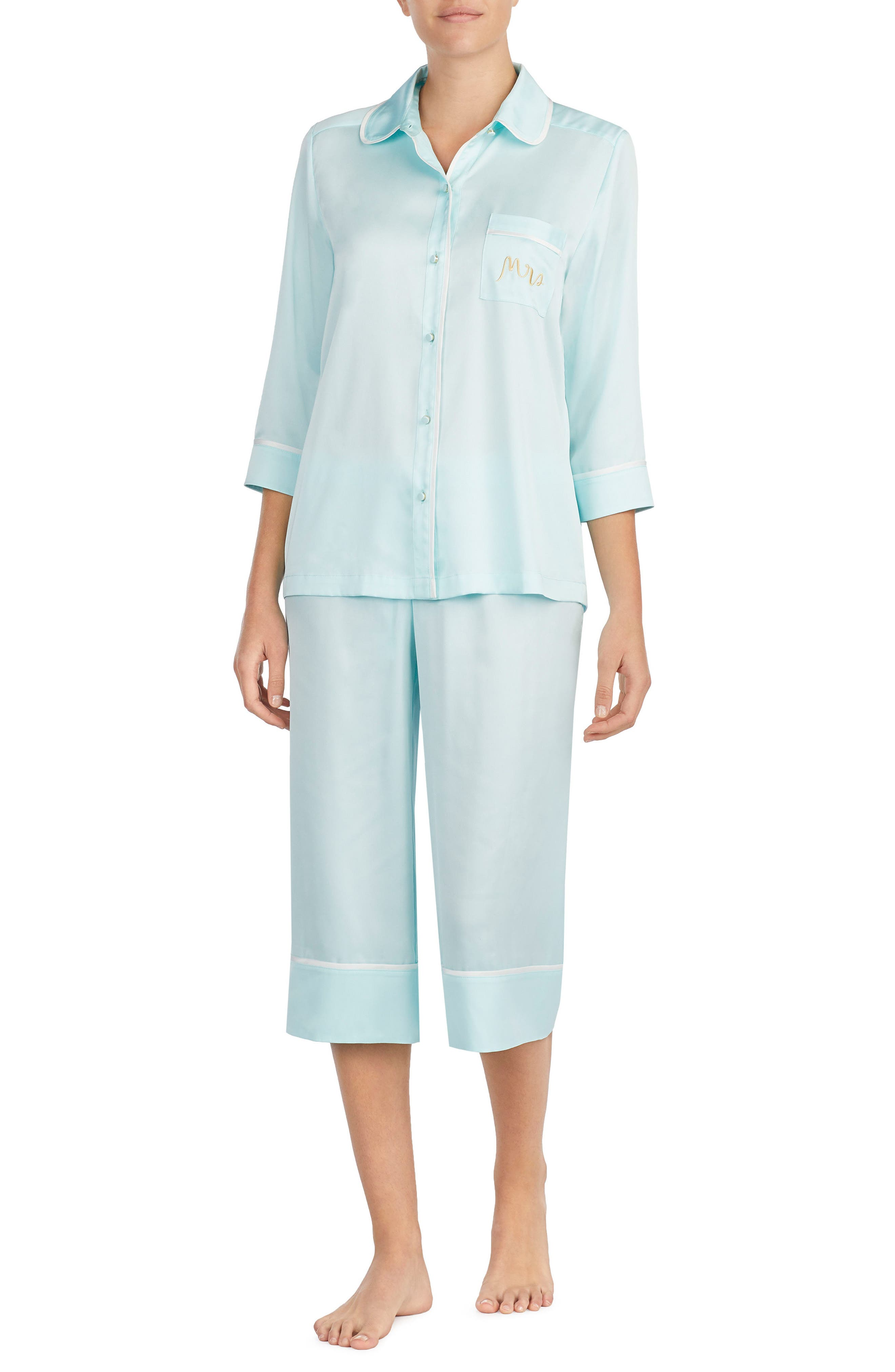 mrs charmeuse crop pajamas,                             Main thumbnail 1, color,
