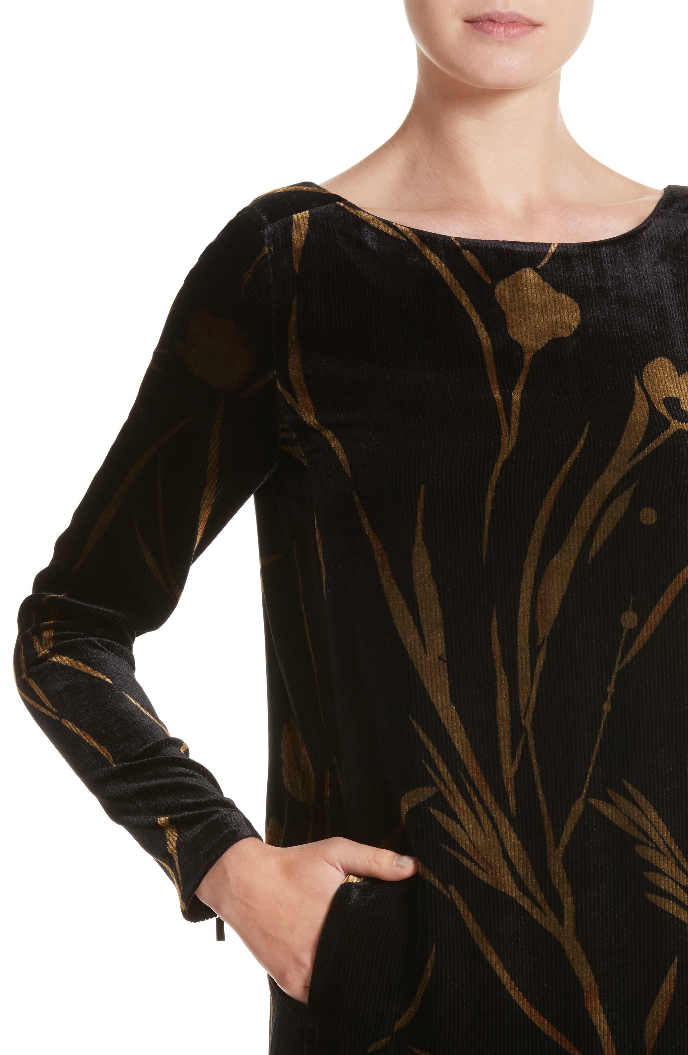 Loribel Golden Bloom Velvet Dress,                             Alternate thumbnail 4, color,
