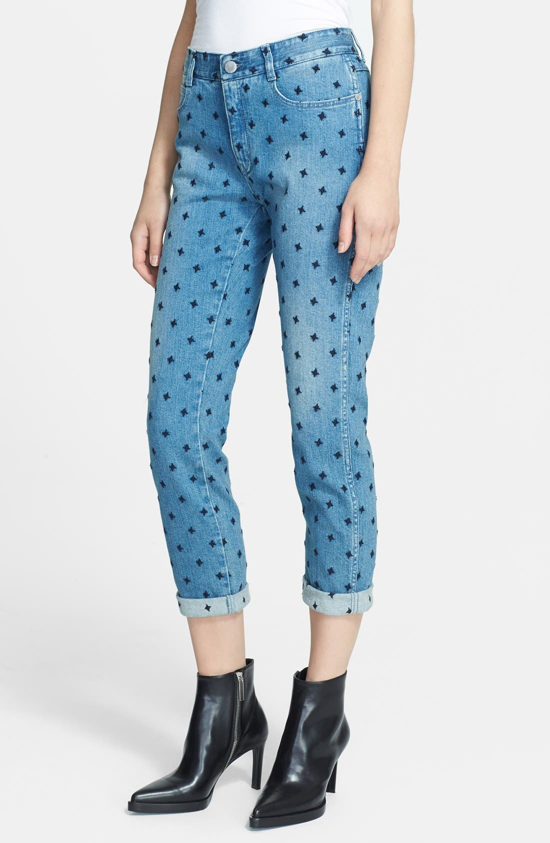 Star Embroidered Skinny Boyfriend Jeans,                             Main thumbnail 1, color,                             410