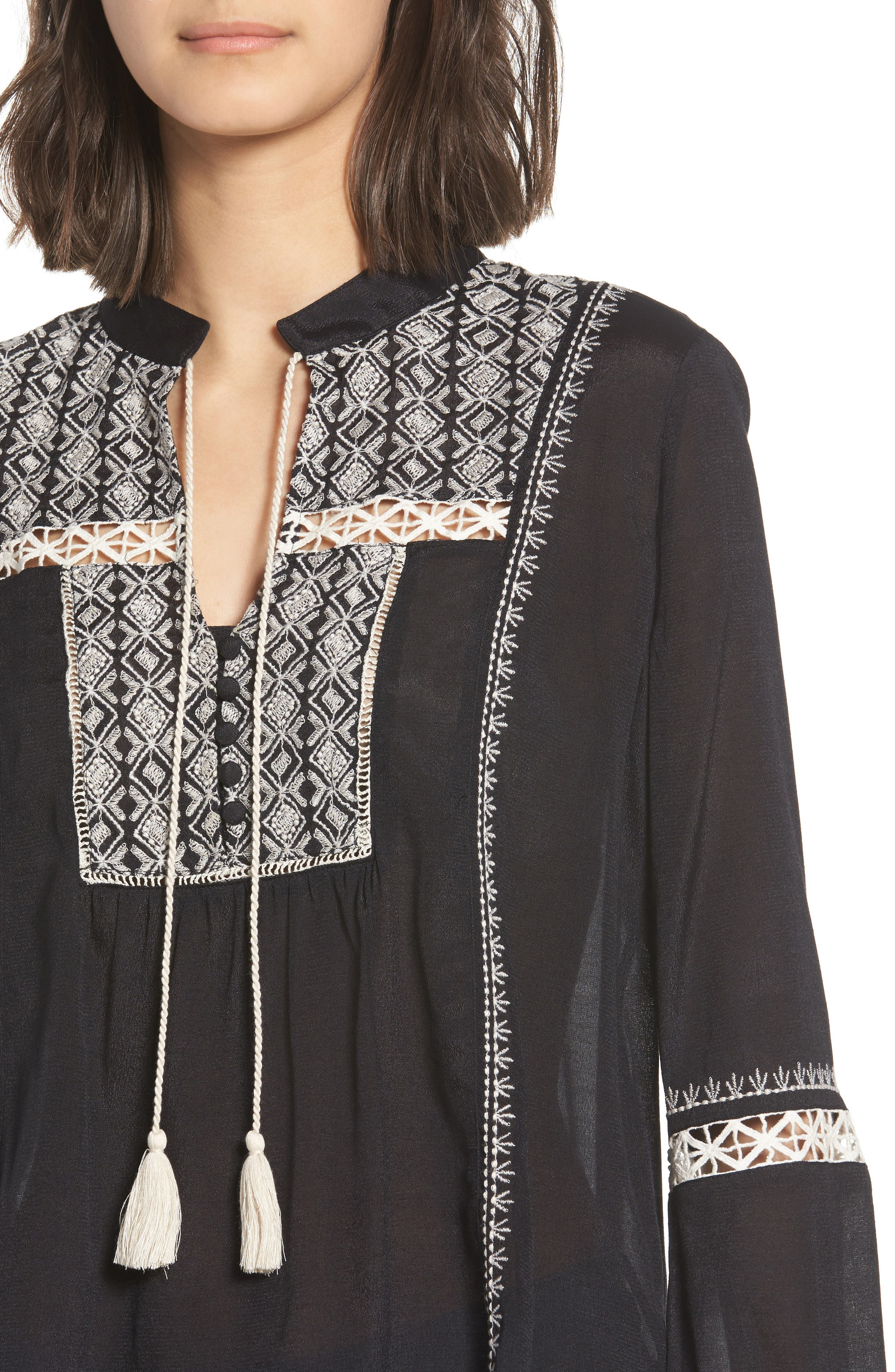 Lace Inset Embroidered Top,                             Alternate thumbnail 4, color,                             001