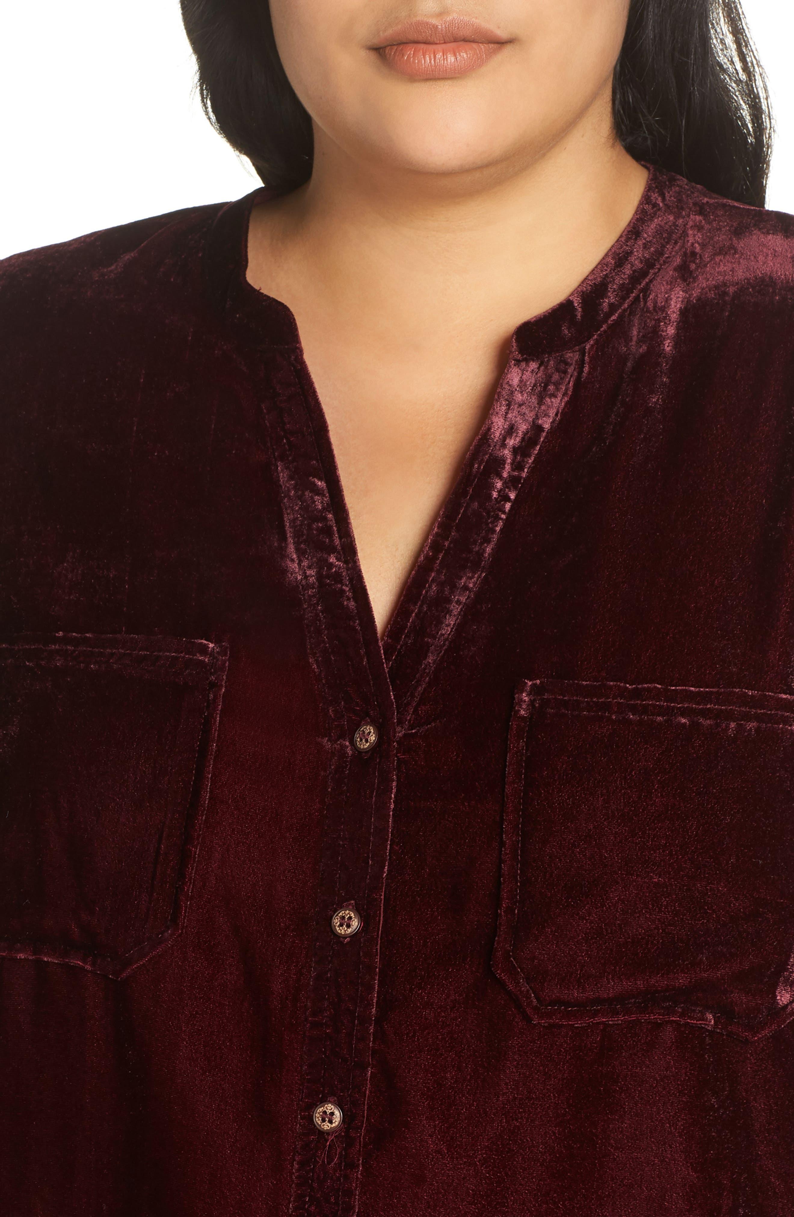 Velvet Shirt,                             Alternate thumbnail 4, color,                             RUBY WINE