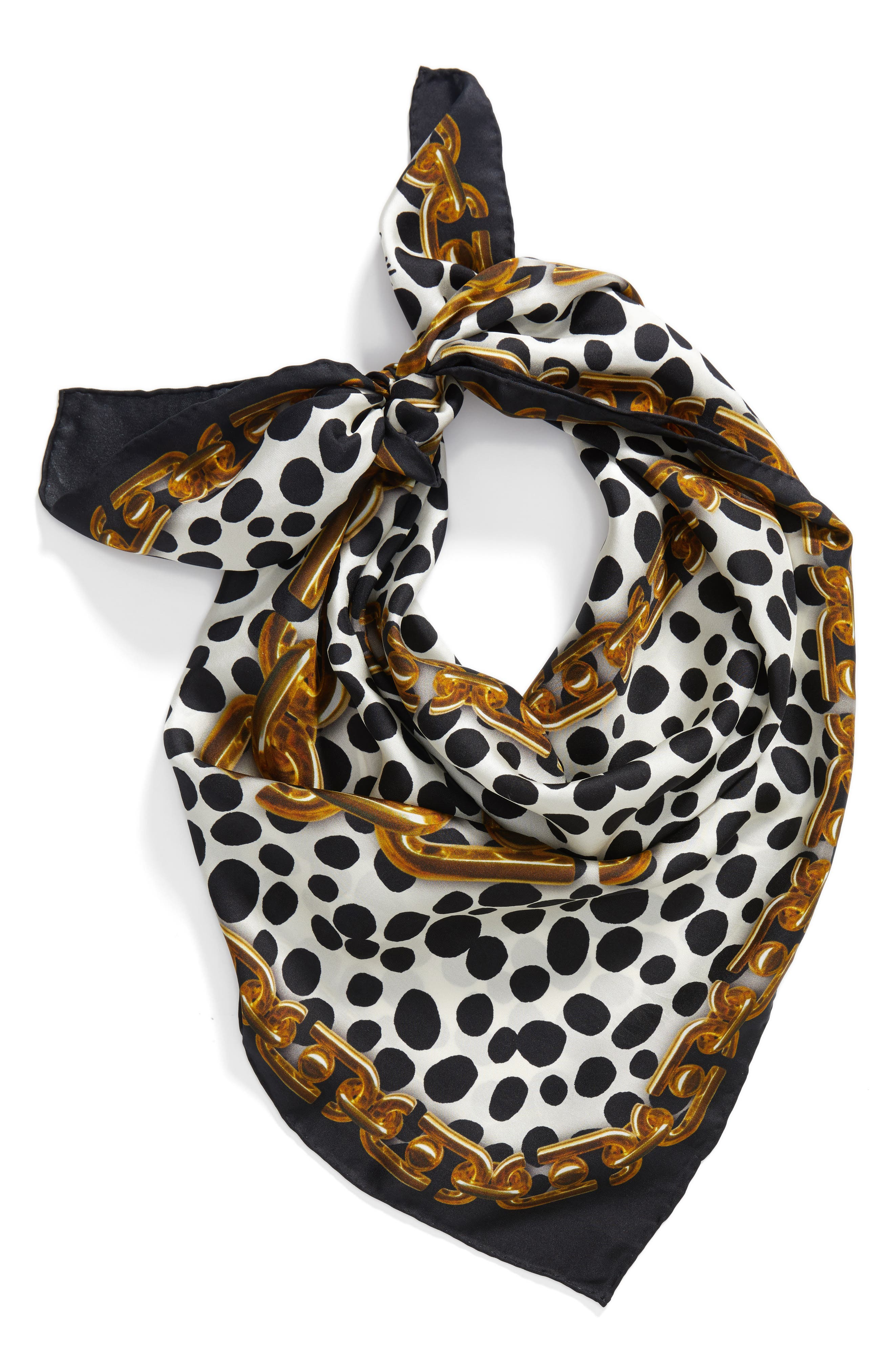 Animal & Chain Print Silk Scarf,                             Alternate thumbnail 3, color,