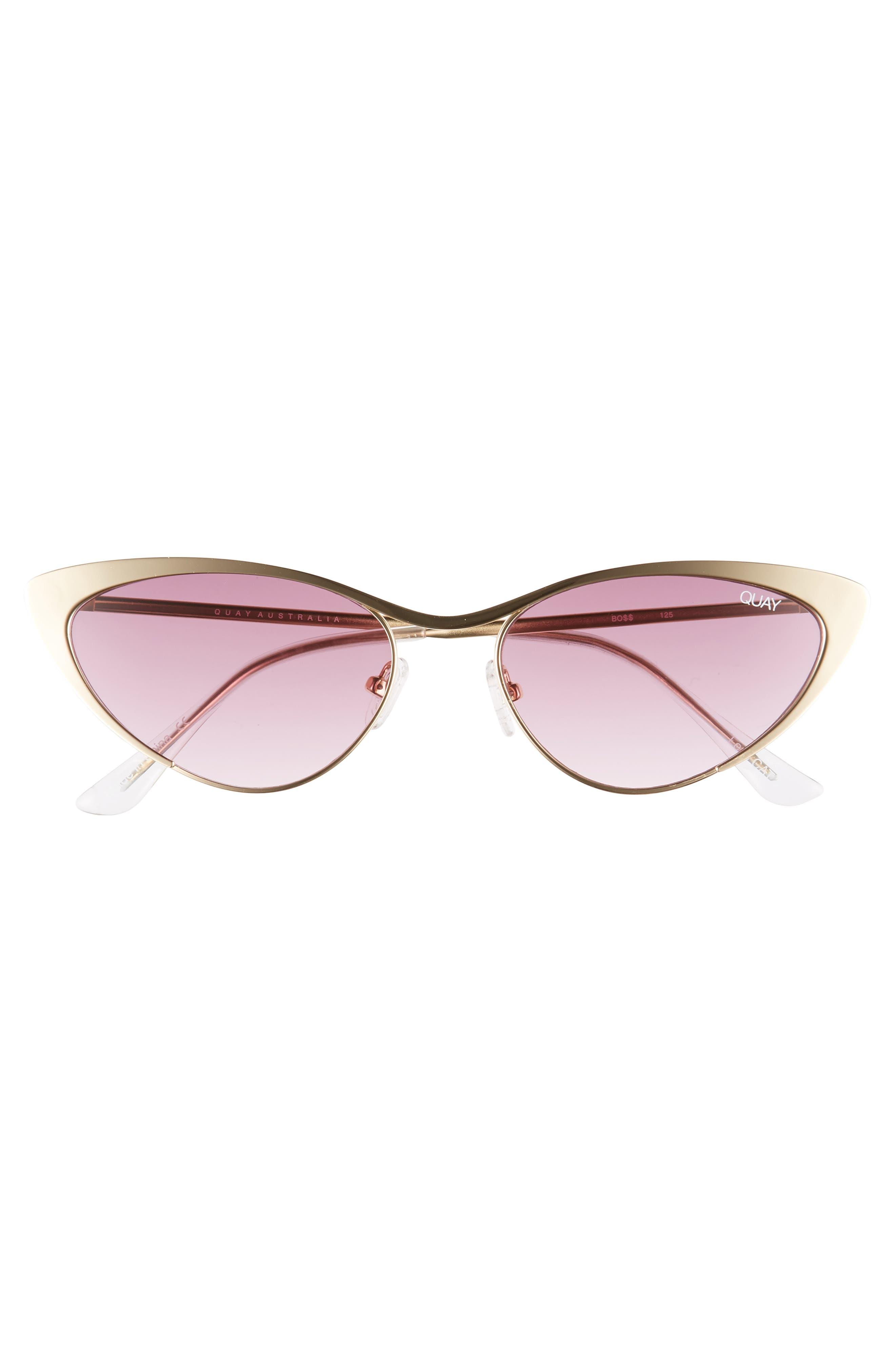 Boss 53mm Cat Eye Sunglasses,                             Alternate thumbnail 3, color,                             GOLD/ PURPLE